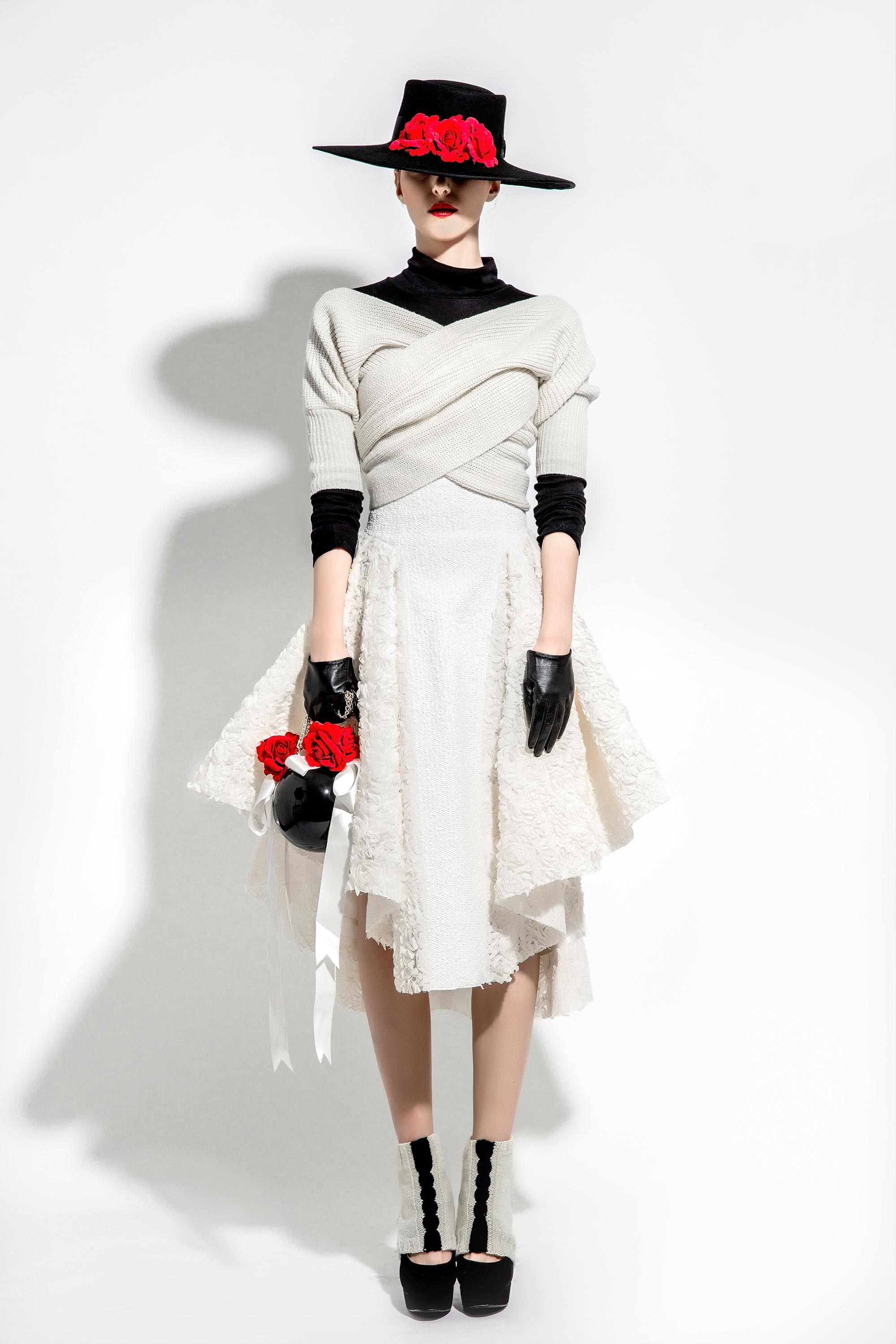 3D Rosettes Embroidered Wool Knitted Skirt and Wrapped Top, Cream