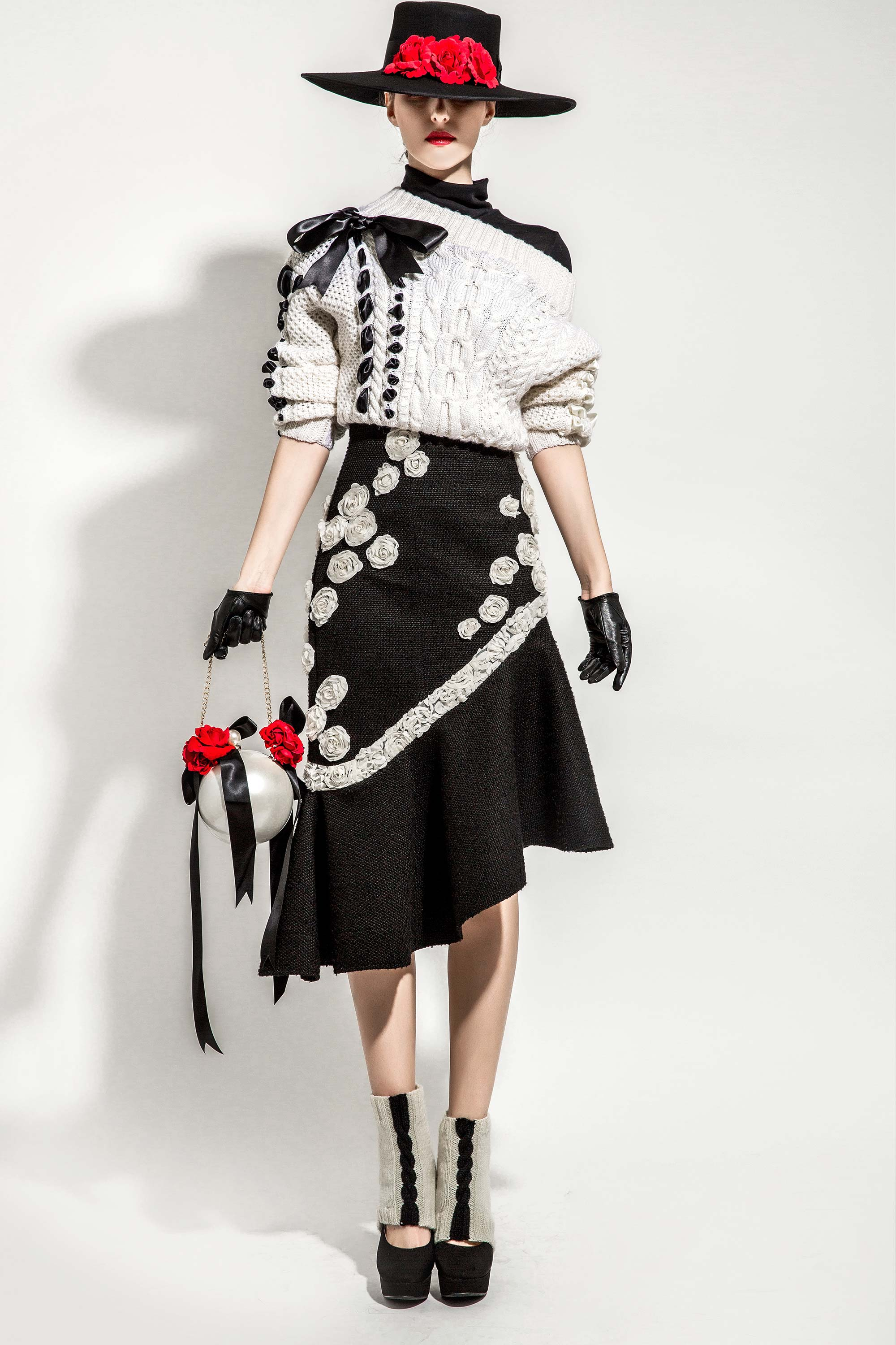 Woven Ribbon Sweater with 3D Rosettes Embroidered Wool Knitted Mermaid Skirt, Black/Cream