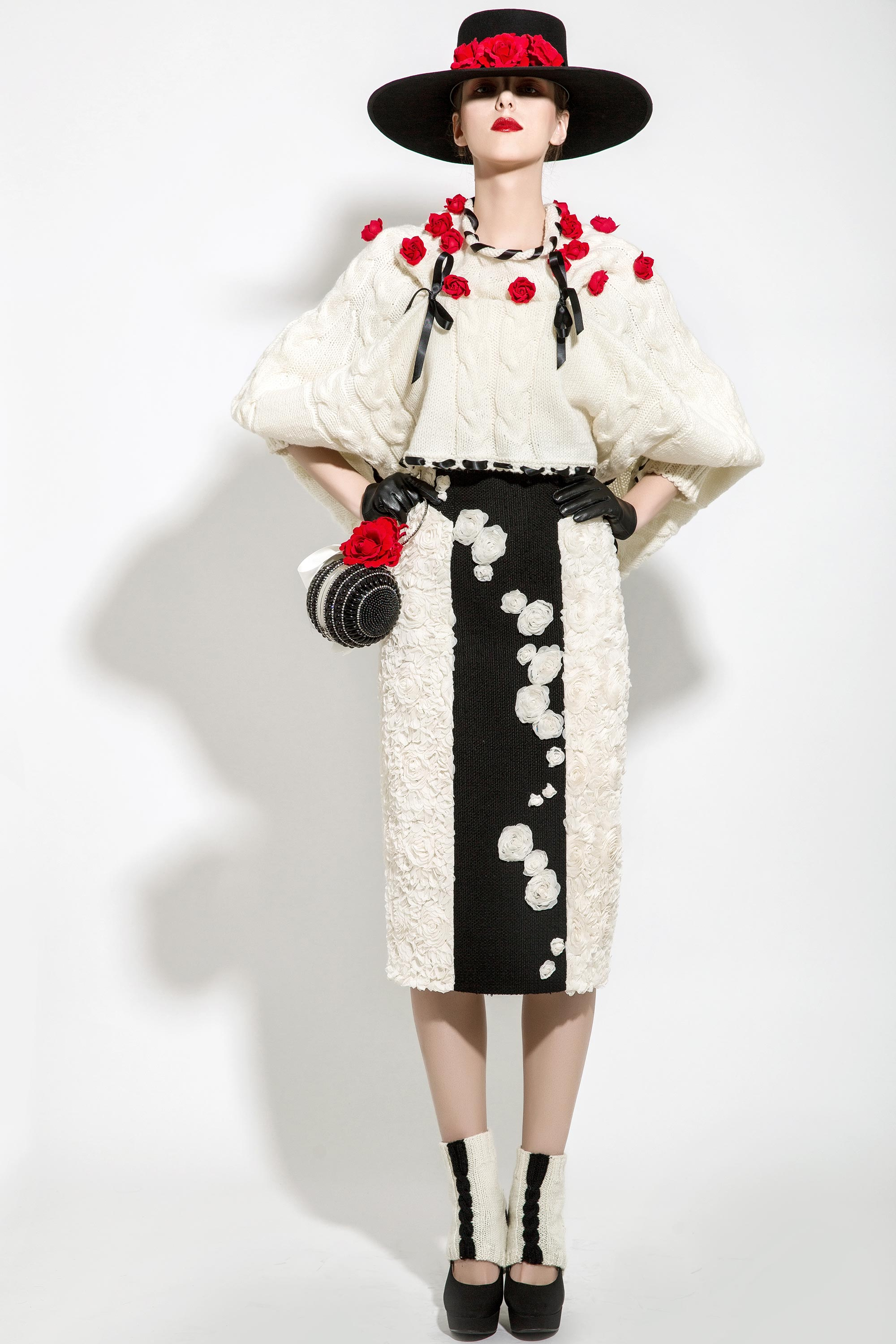 Wool Knitted Rose Braided Cape with 3D Rosettes Embroidered Skirt, Black/Cream/Red