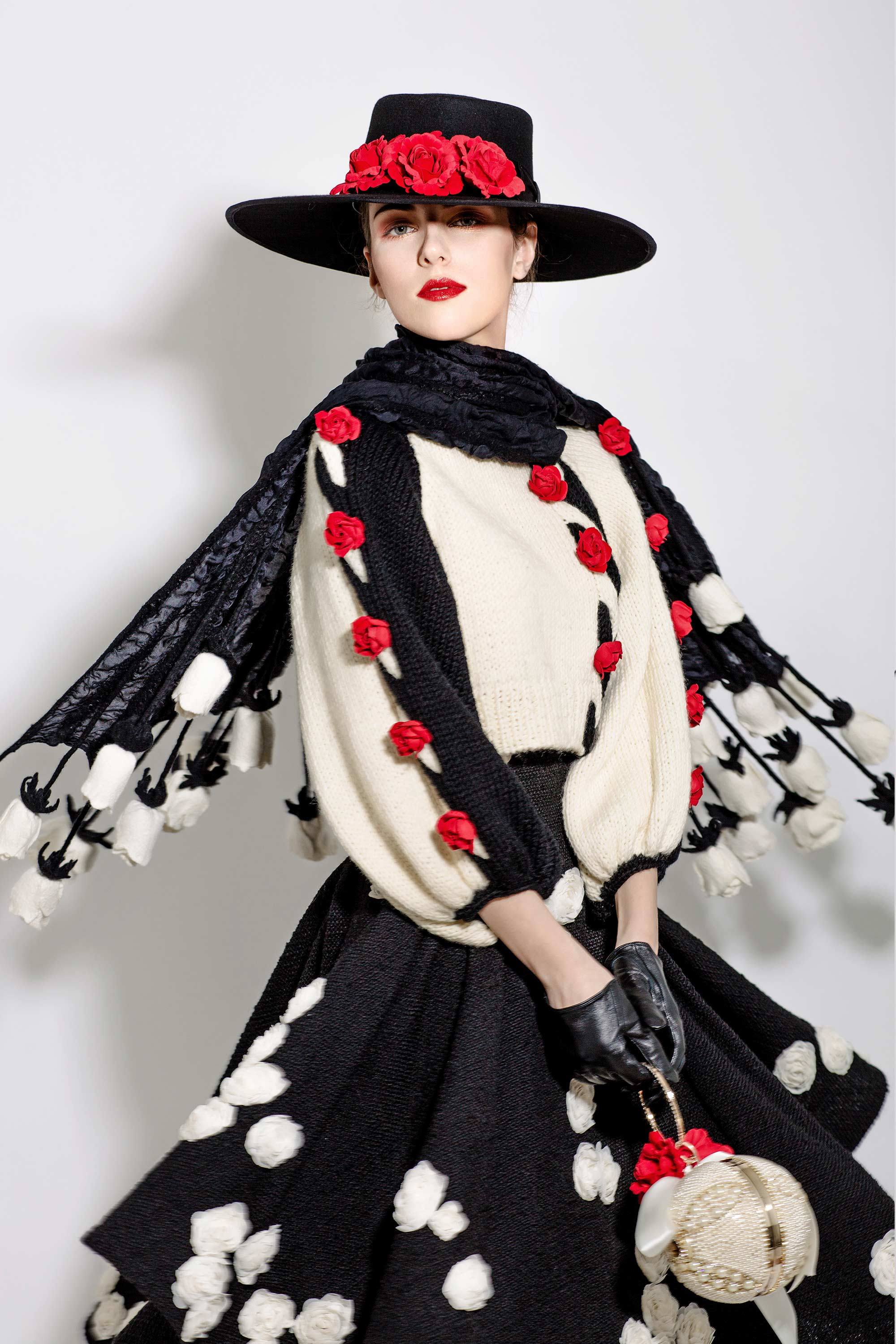 Wool Knitted Rose Braided Sweater with 3D Rosettes Embroidered Skirt and Felted Silk Rose Stole, Black/Cream/Red