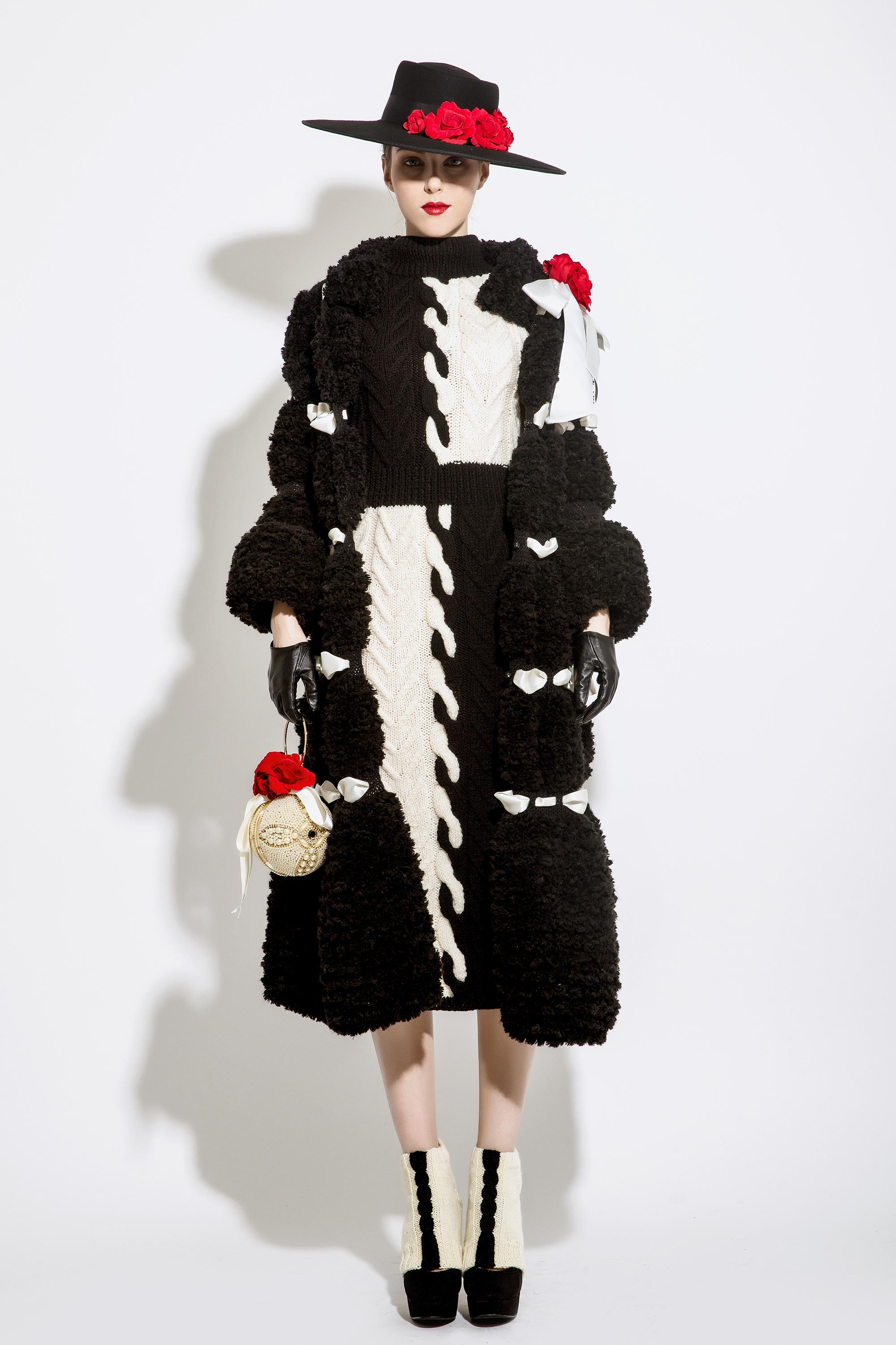 Wool Knitted Dress with Ribbon Woven Coat, Black/Cream