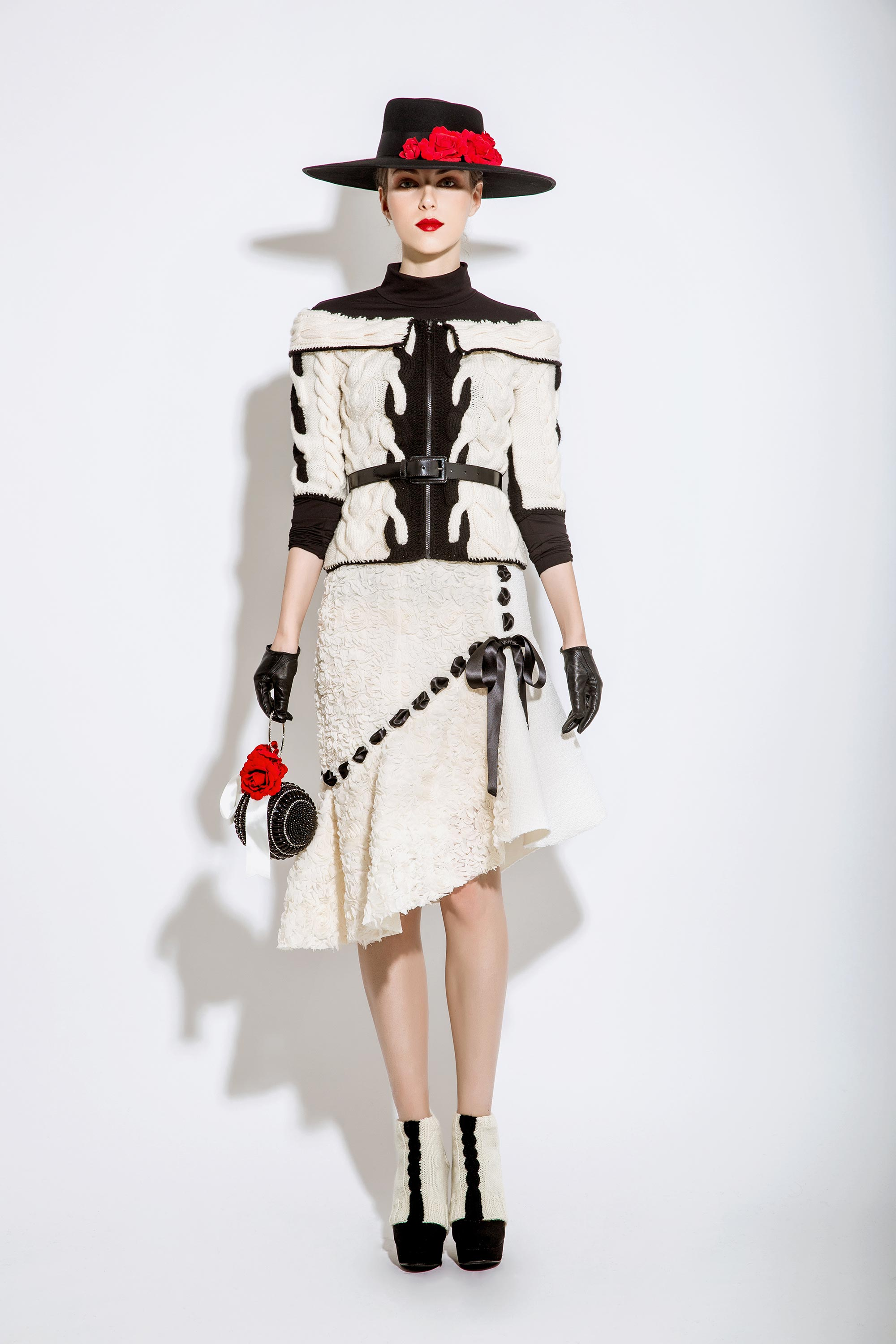 Wool Knitted Cable Jacket with Ribbon Woven Mermaid Skirt, Black/Cream