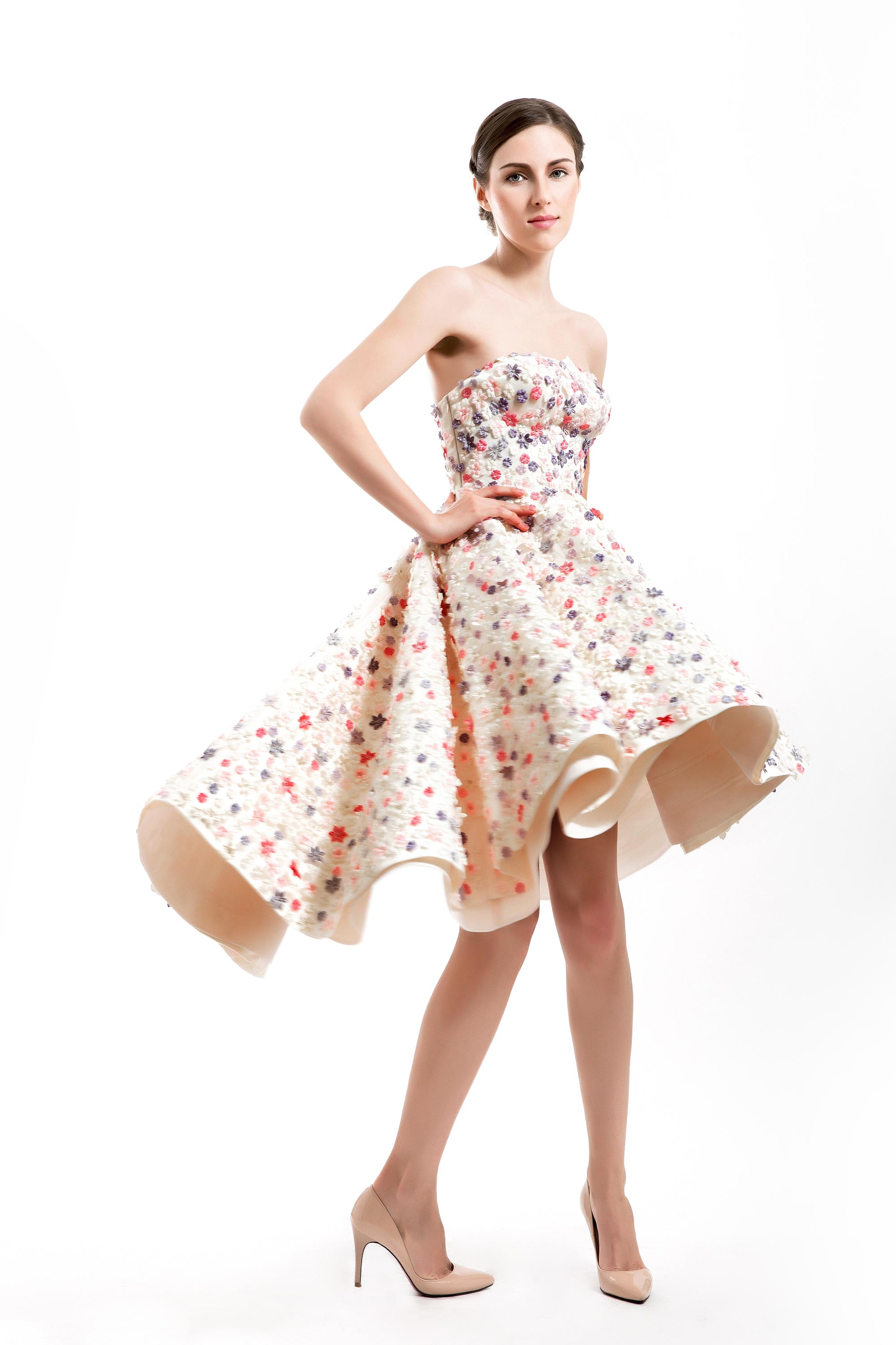 Spring Flowers Embellished A-line Dress, Beige/ Multicolor