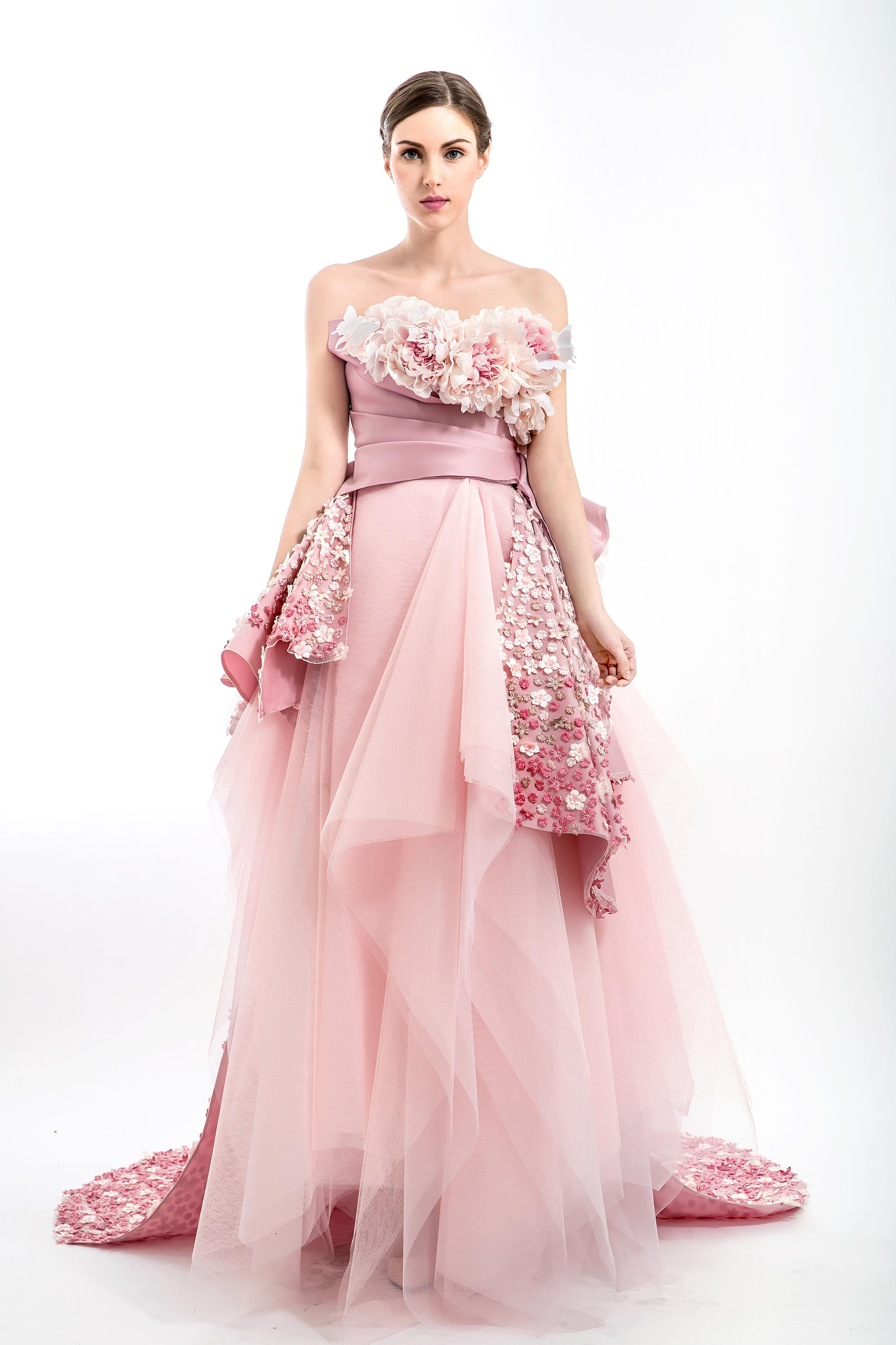 Peonies Embellished Strapless Ball Gown, Pink