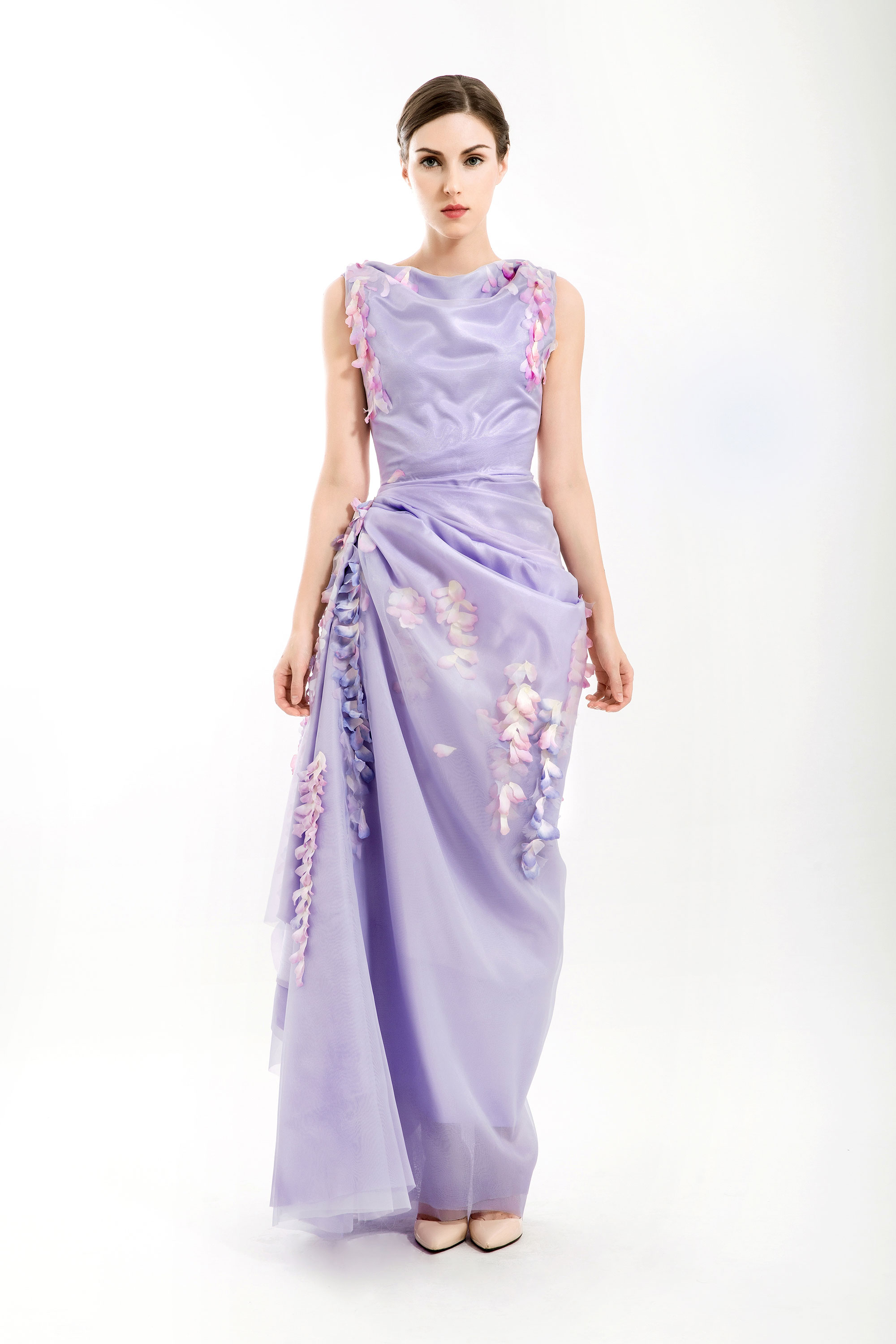 Wisteria Draped Mermaid Dress, Purple