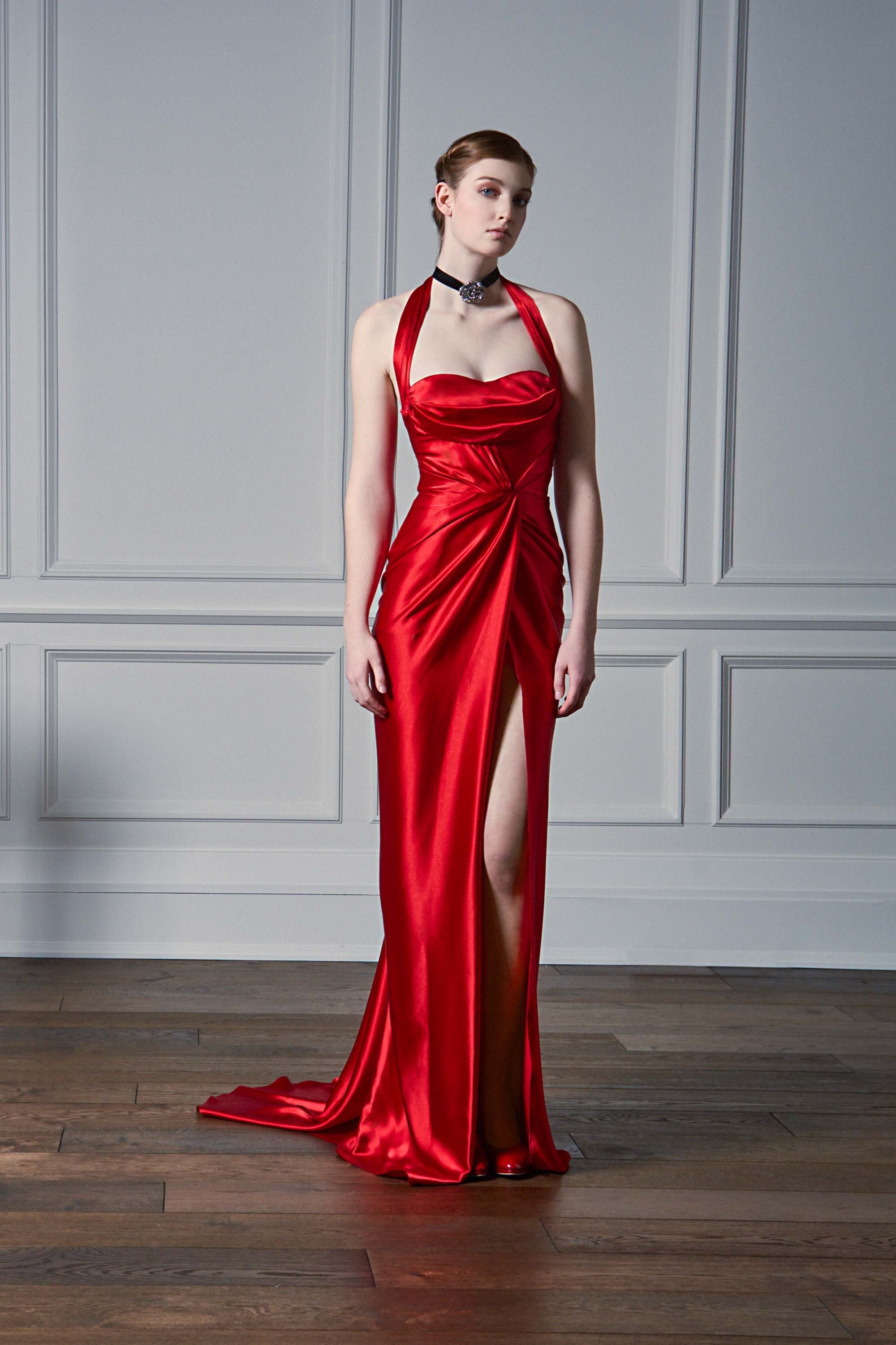 HALTER NECK DRAPED GOWN WITH THIGH SLIT, RED