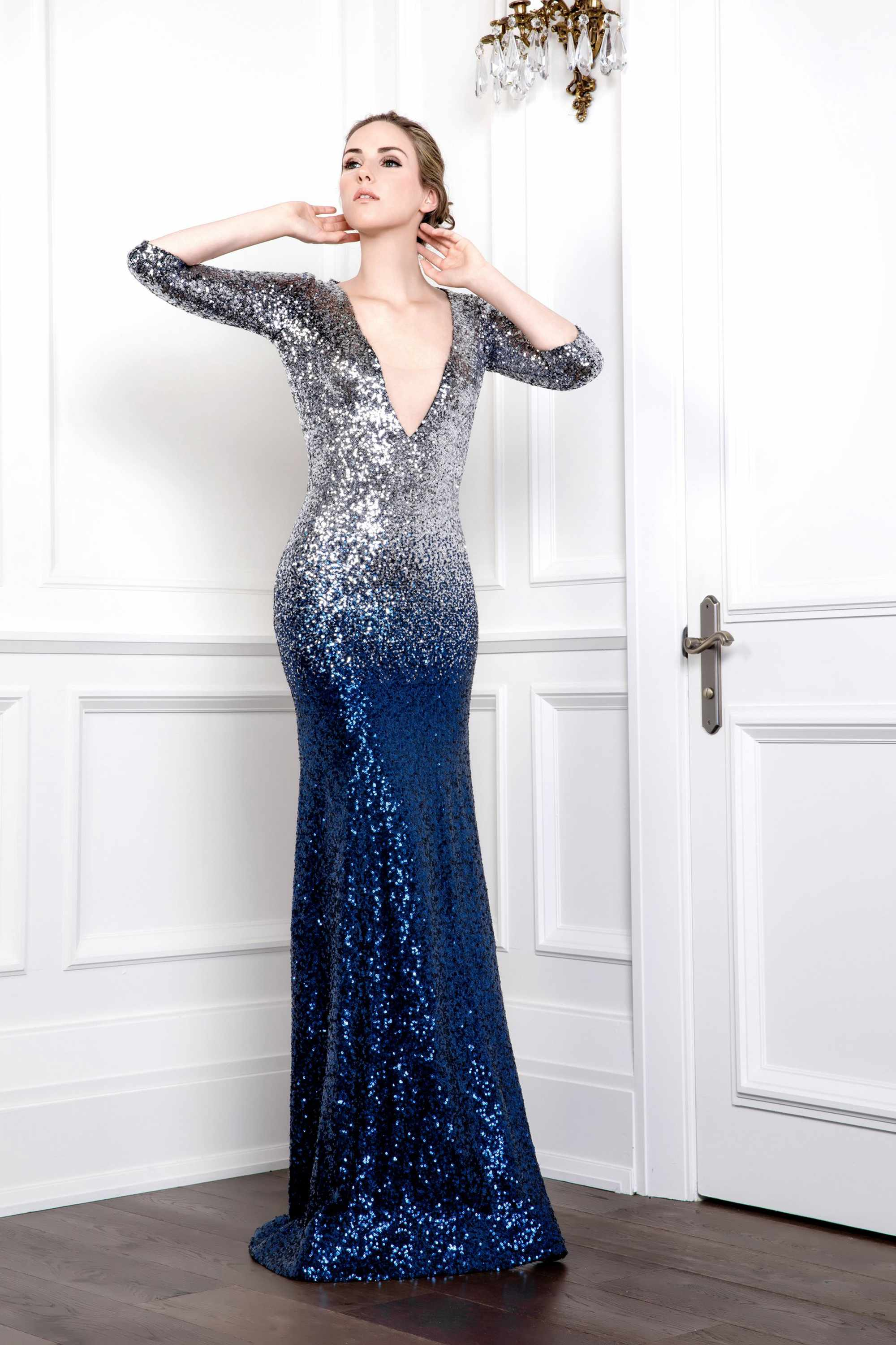Sequin V Neck Mermaid Gown Midnight Blue Silver Ombre Kelly