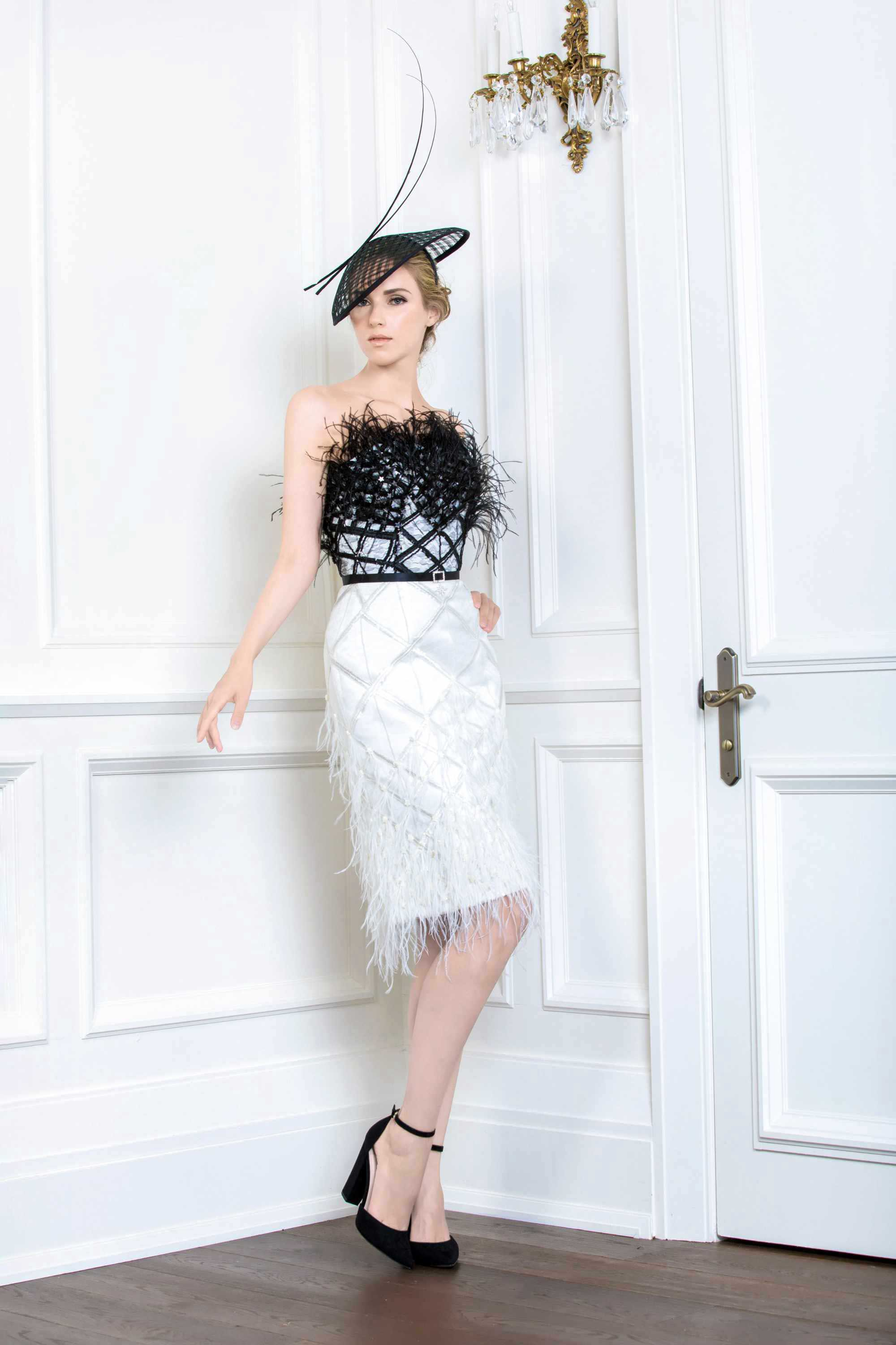 STAR EMBROIDERED FEATHER COCKTAIL DRESS, BLACK/WHITE