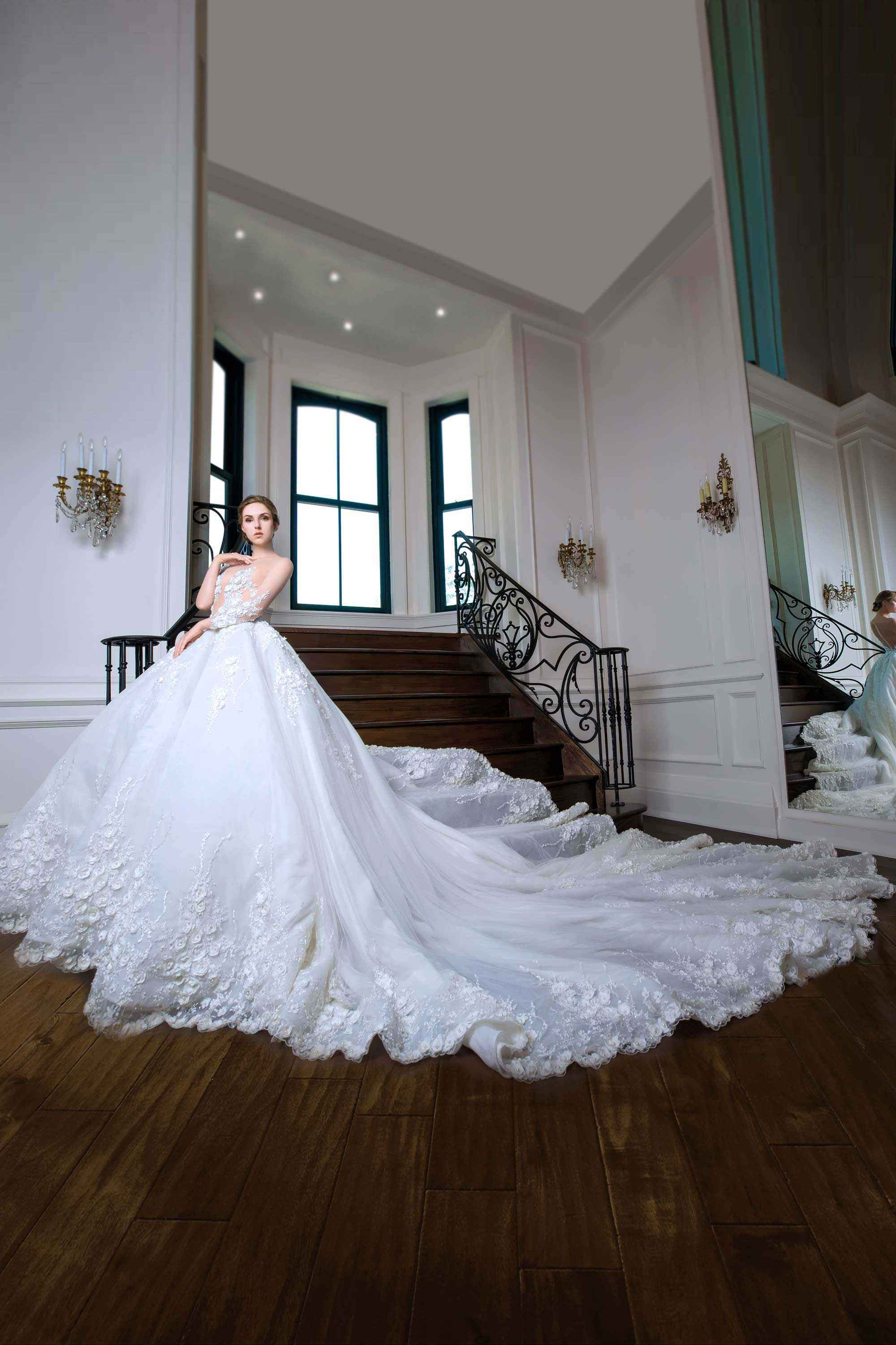EMBROIDERED SILK TULLE BRIDAL BALL GOWN, WHITE