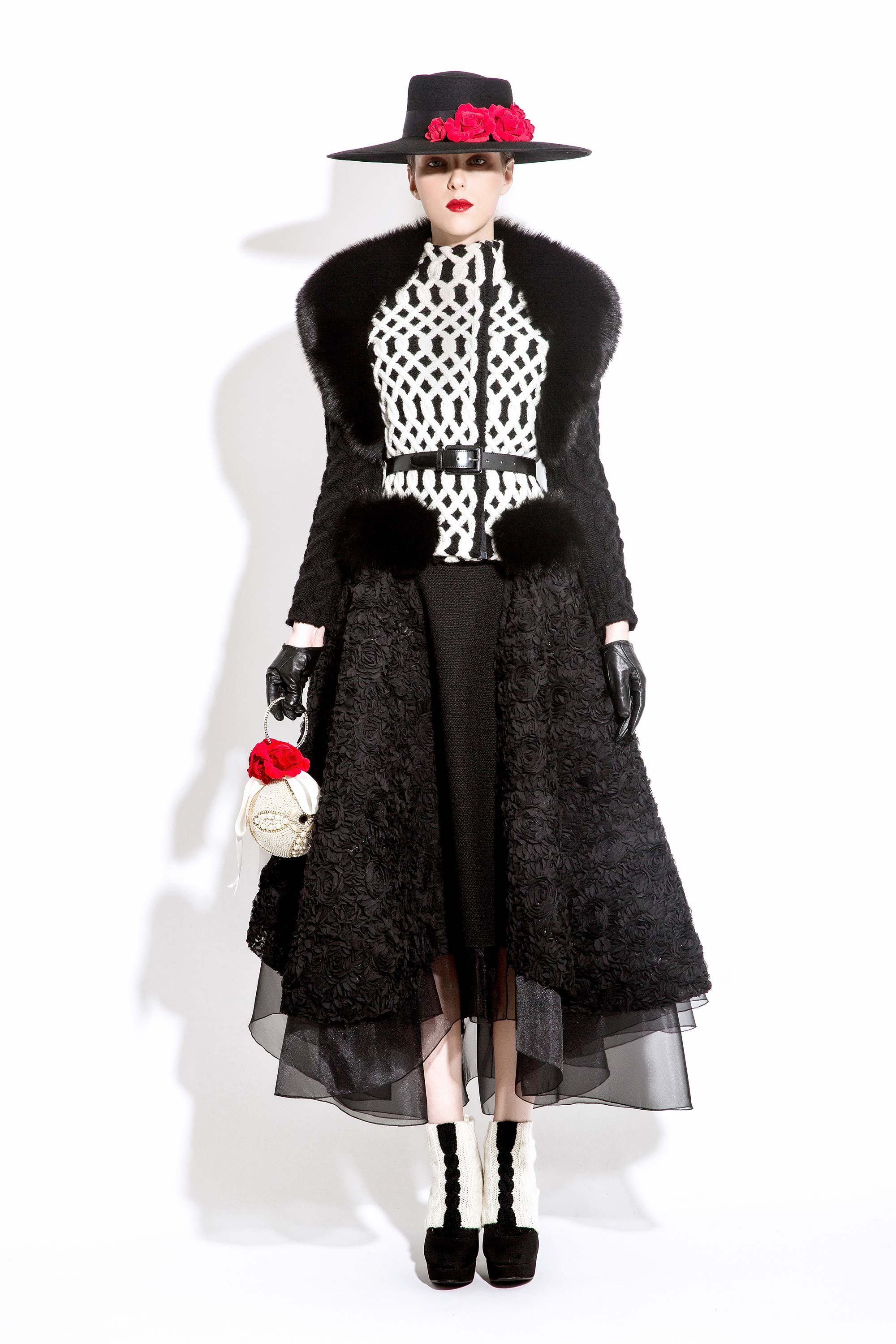 Wool Knitted Jacket with Fox Fur and 3D Rosettes Embroidered Skirt, Black/Cream