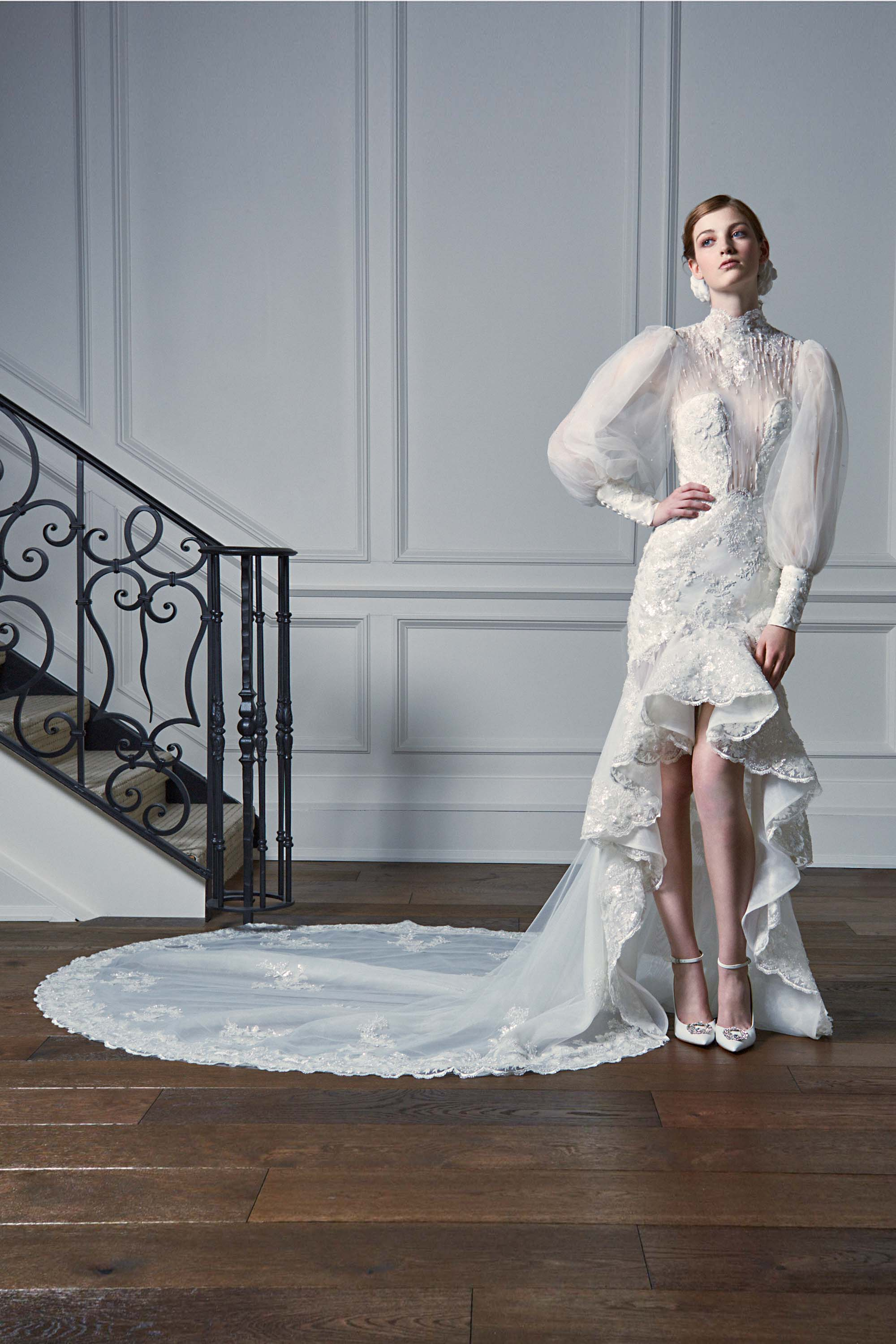 EMBROIDERED HIGH LOW MERMAID GOWN WITH LONG PUFF SLEEVES, WHITE