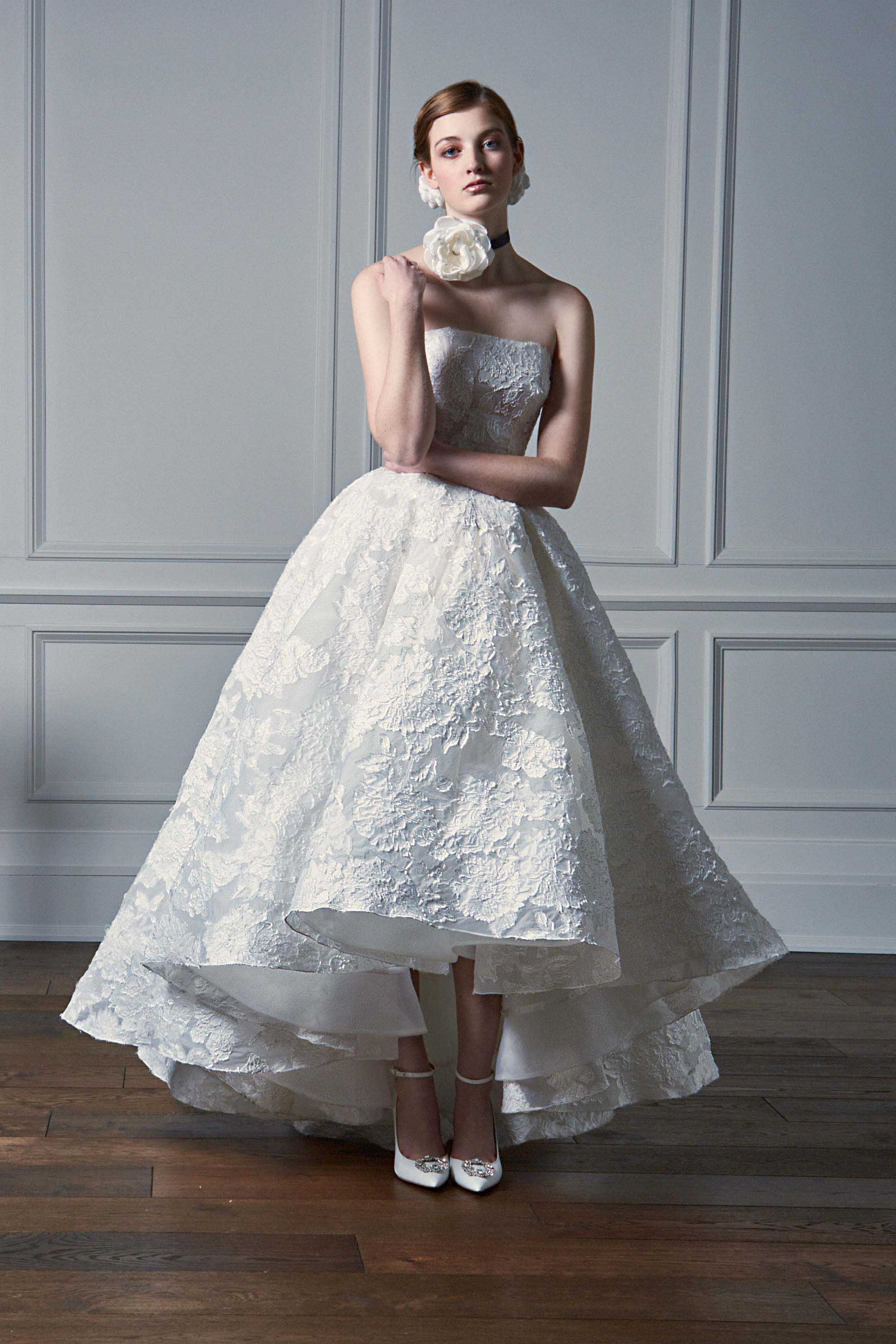 LASER CUT FLOWER SILK GAZAR BALL GOWN, WHITE