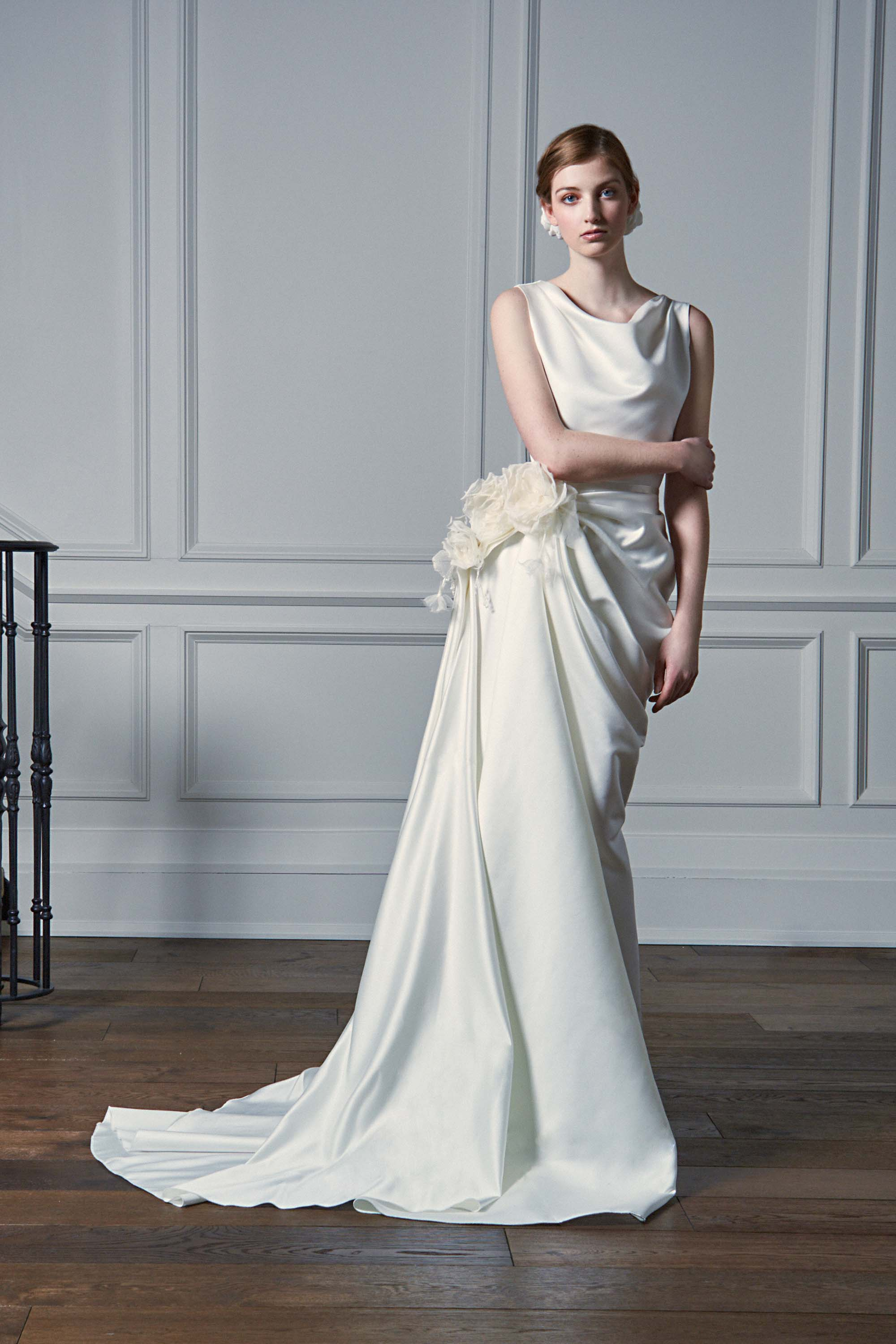 ASYMMETRIC DRAPED GOWN, WHITE