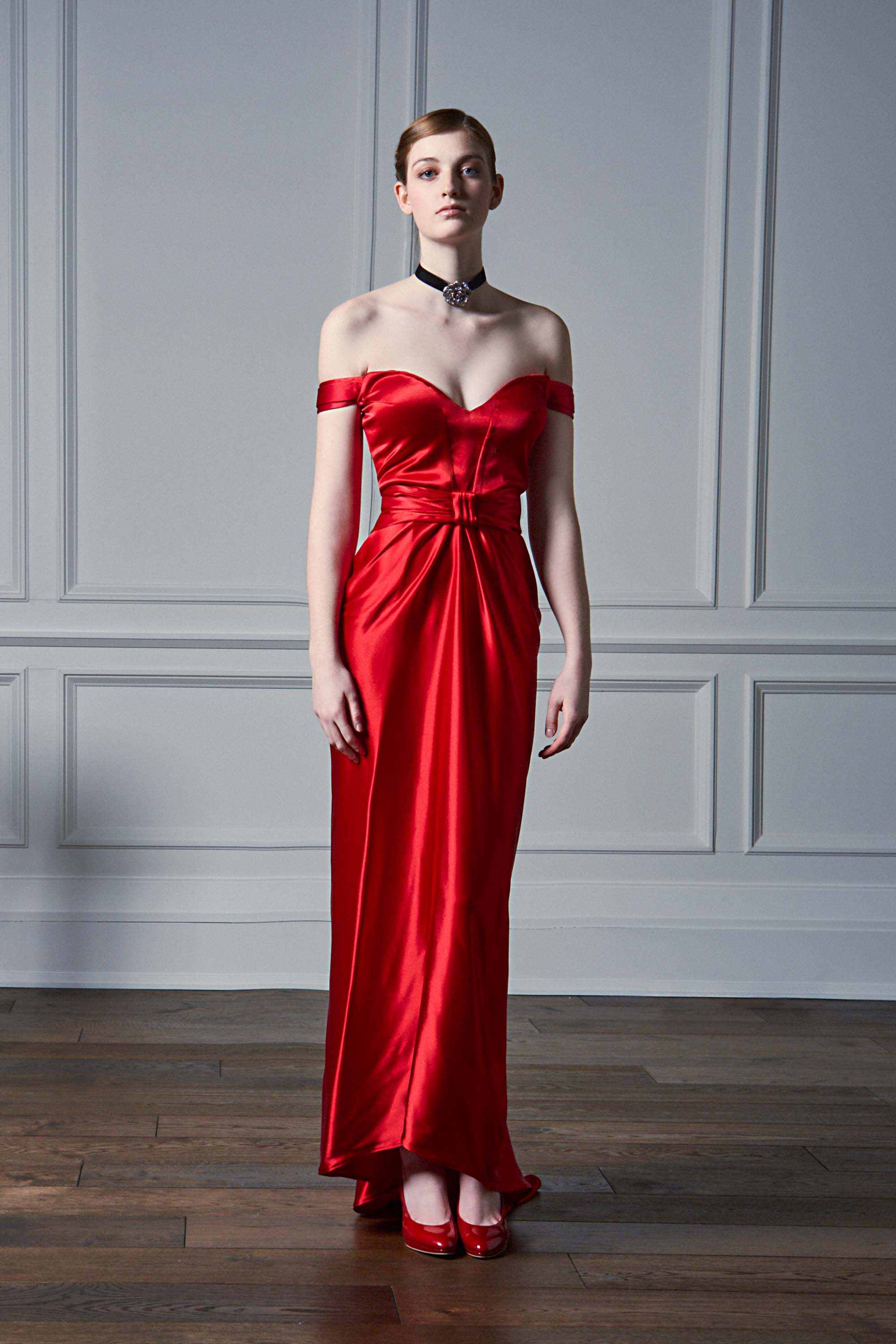 OFF-THE-SHOULDER DRAPED GOWN, RED