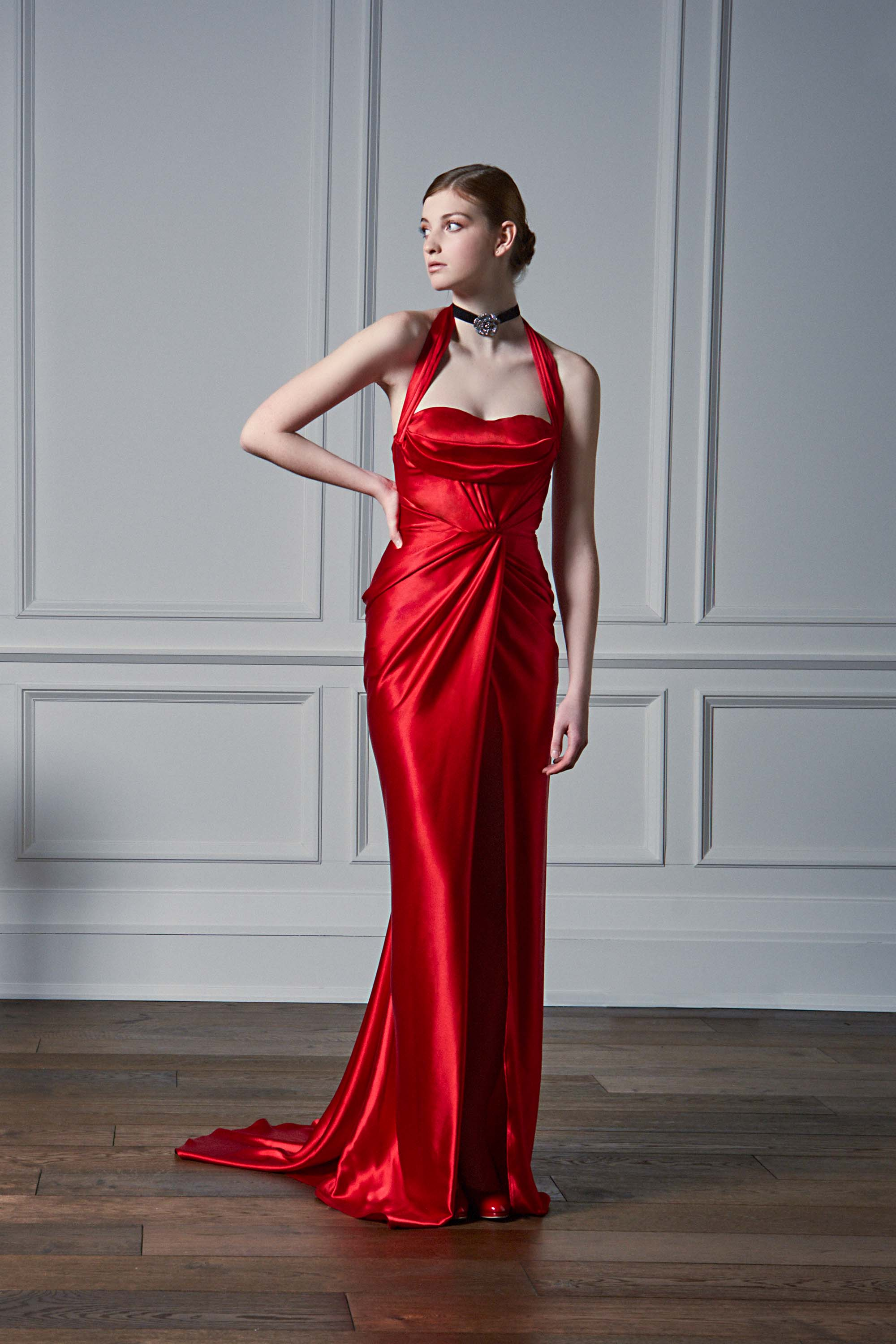 Halter Neck Draped Gown With Thigh Slit Red Kelly Ng