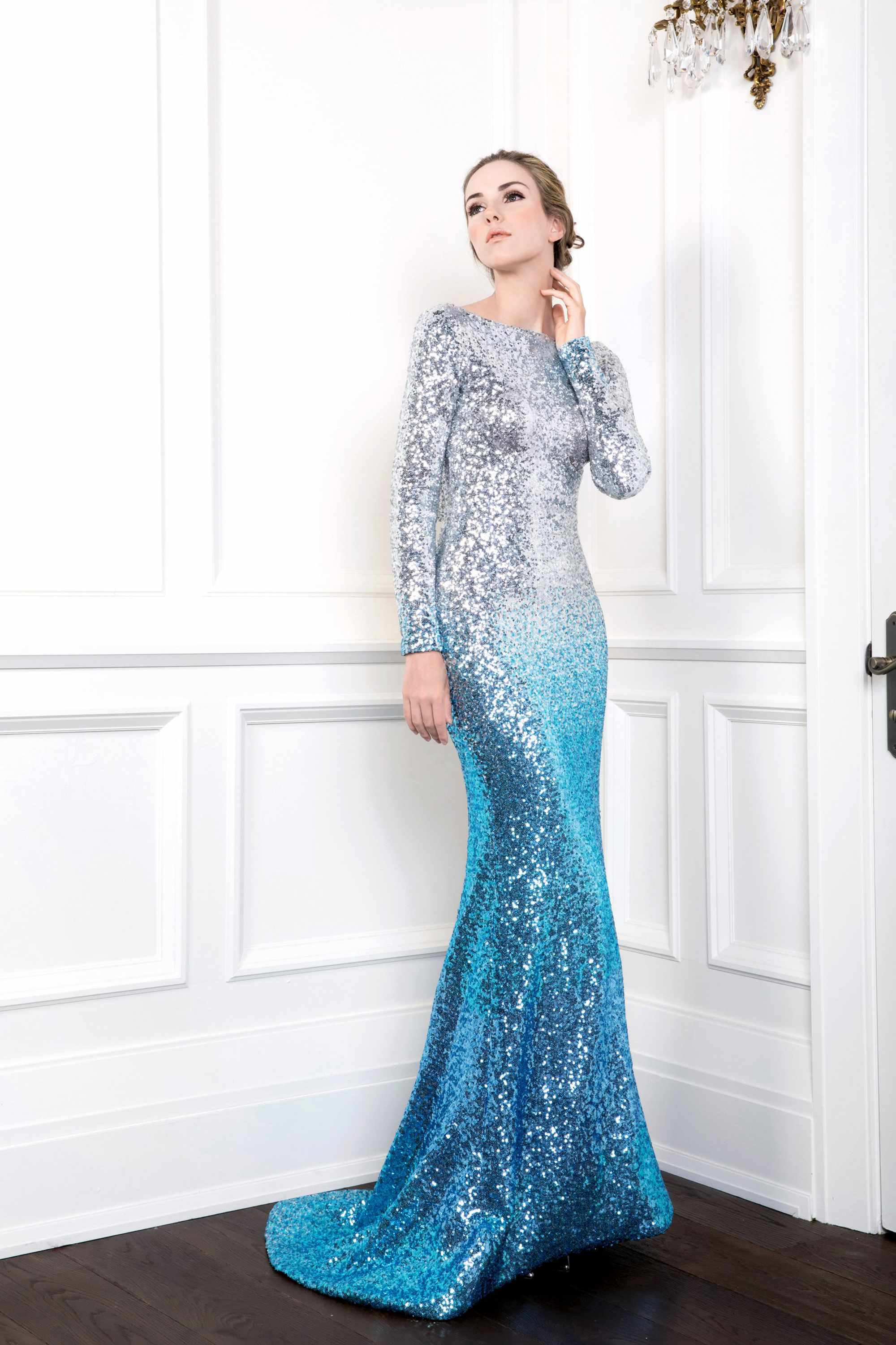 Sequin Mermaid Gown With Draped Cowl Back Light Blue