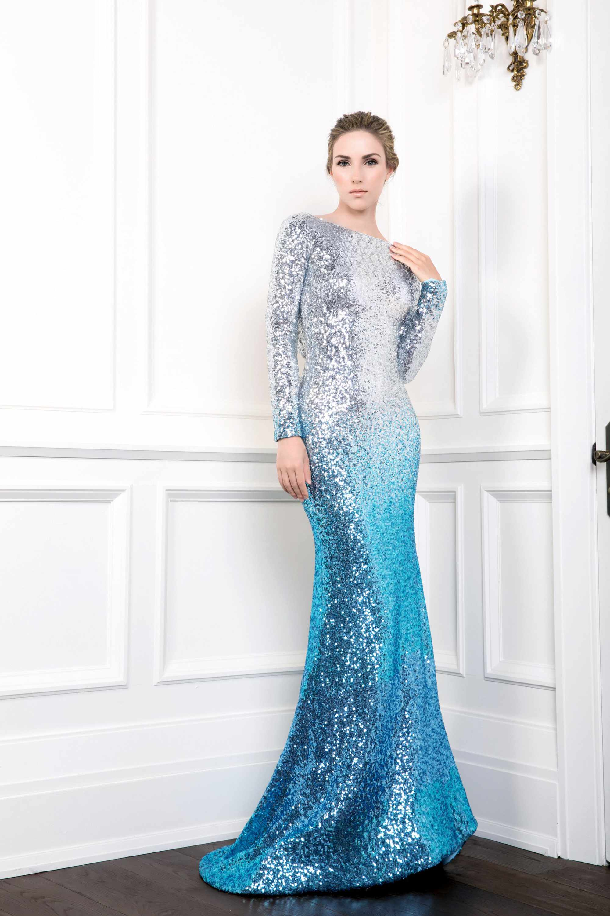 SEQUIN MERMAID GOWN WITH DRAPED COWL BACK, LIGHT BLUE SILVER OMBRE