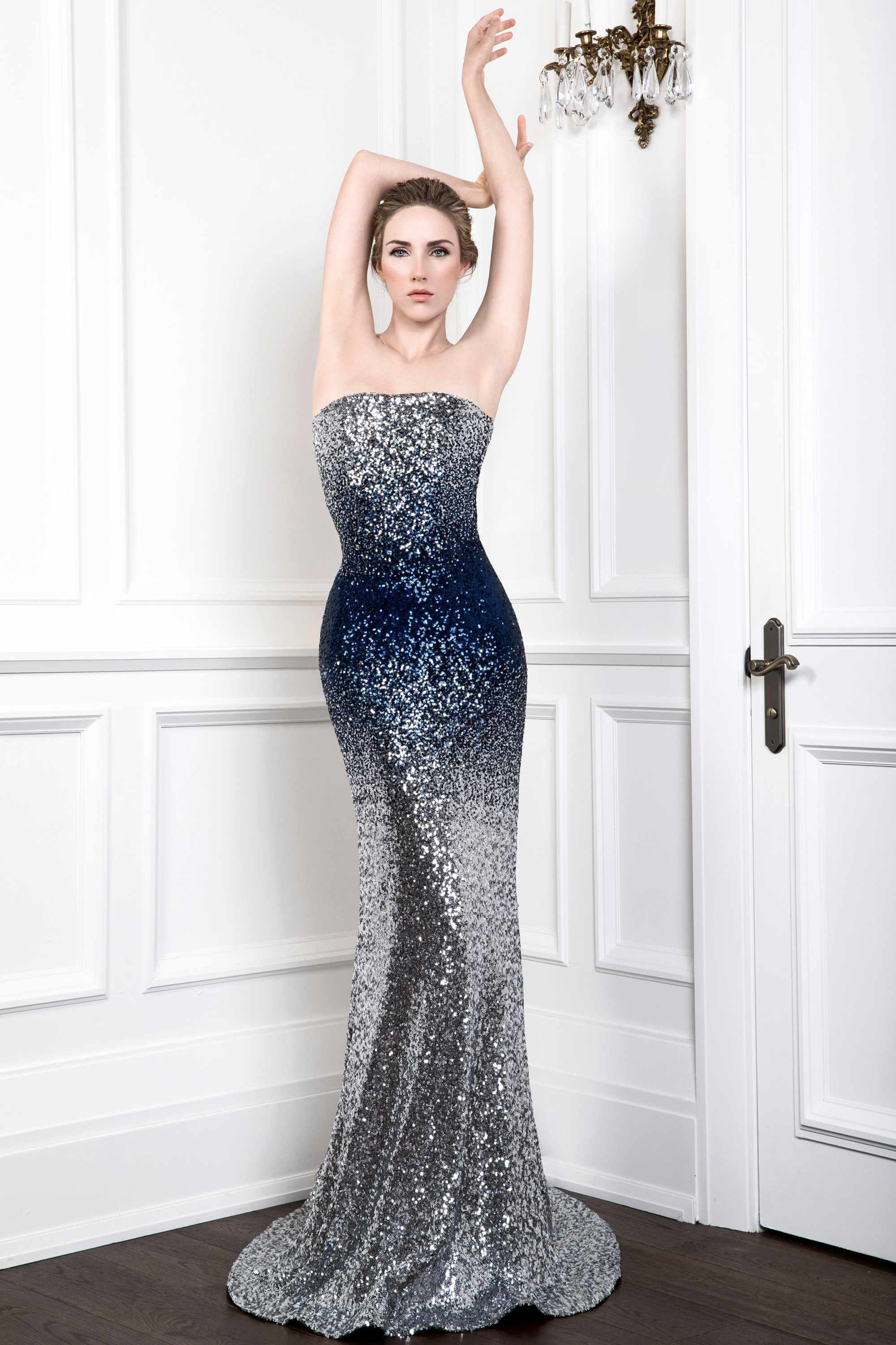 SEQUIN MERMAID GOWN, SILVER MIDNIGHT BLUE OMBRE