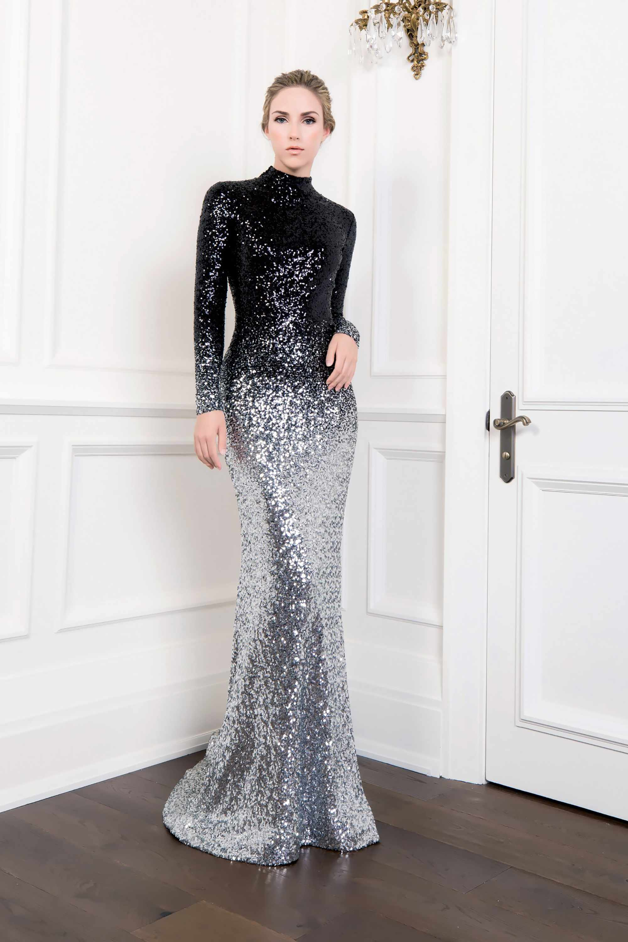 SEQUIN TURTLENECK MERMAID GOWN, BLACK SILVER OMBRE