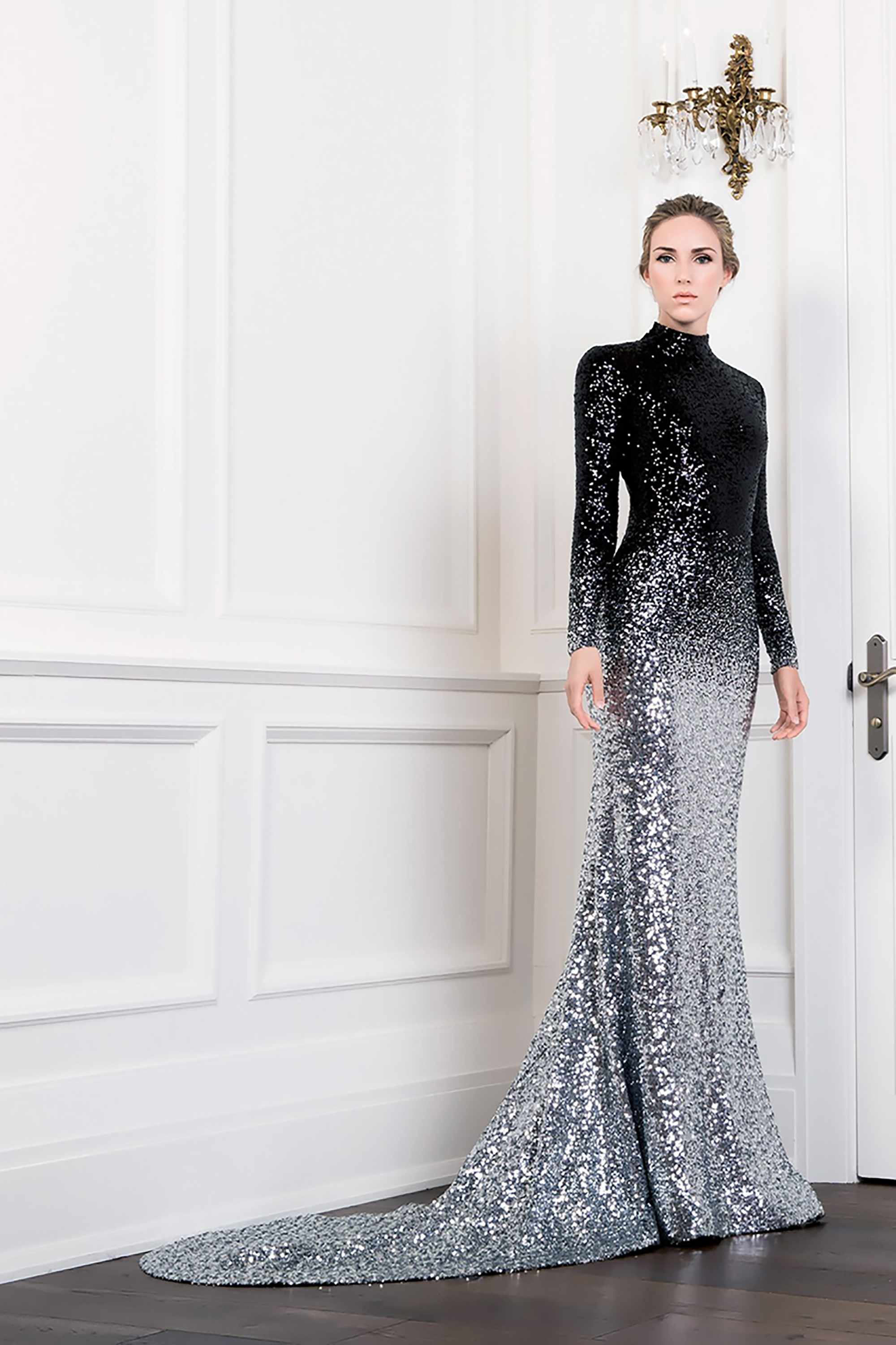 Sequin Turtleneck Mermaid Gown Black Silver Ombre Kelly Ng