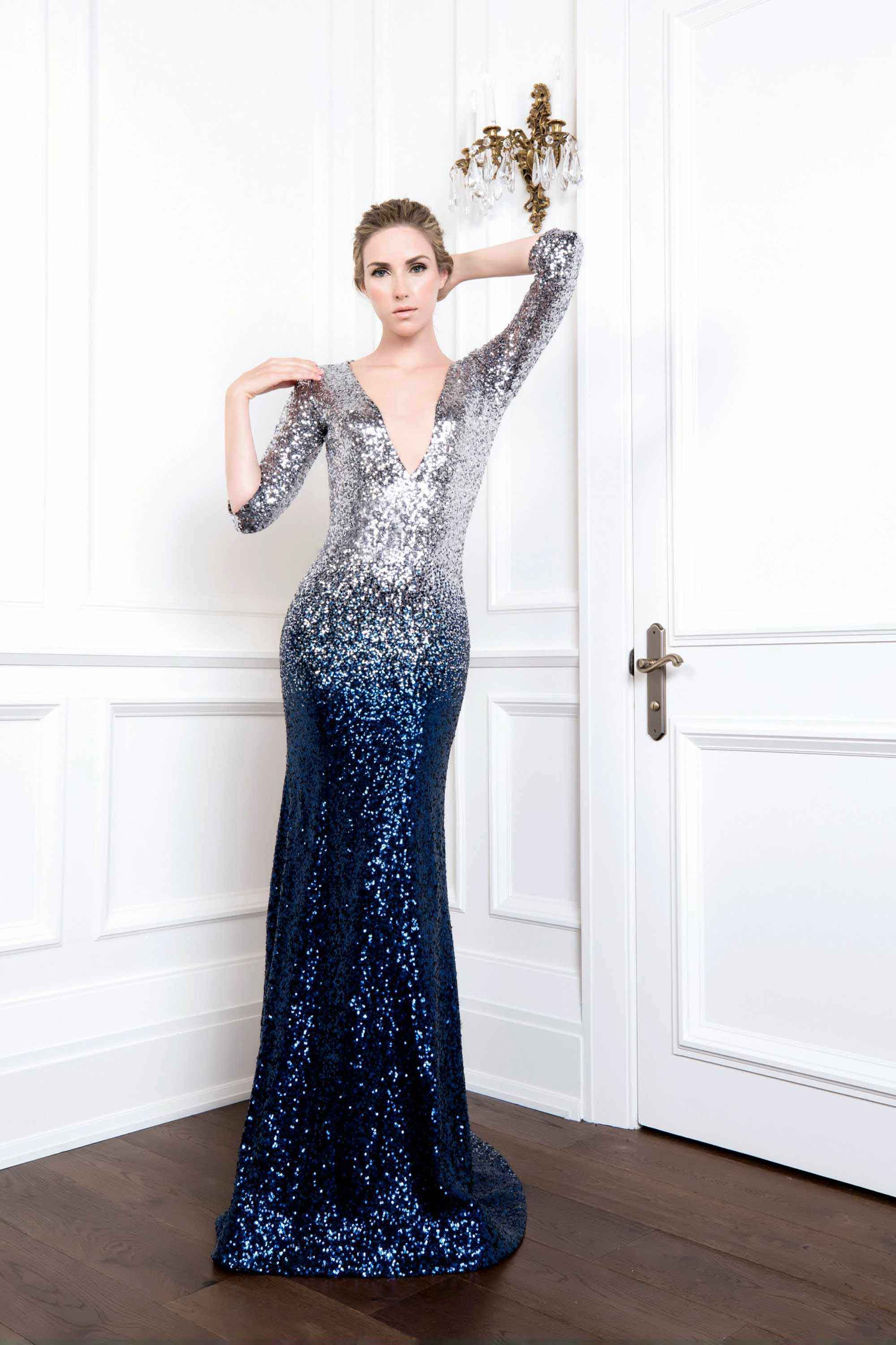 SEQUIN V NECK MERMAID GOWN, MIDNIGHT BLUE SILVER OMBRE