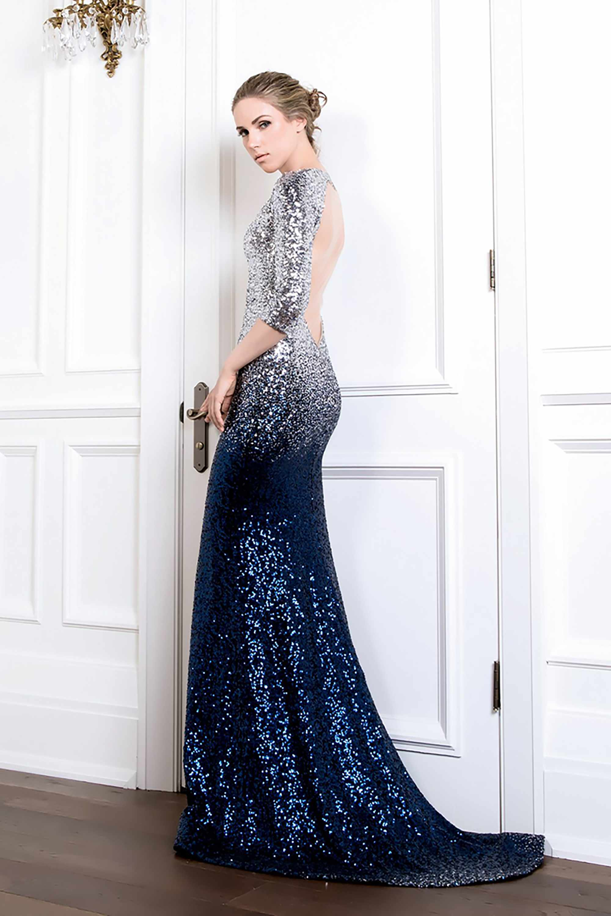 01c68fc80aa9 SEQUIN V NECK MERMAID GOWN, MIDNIGHT BLUE SILVER OMBRE - Kelly NG