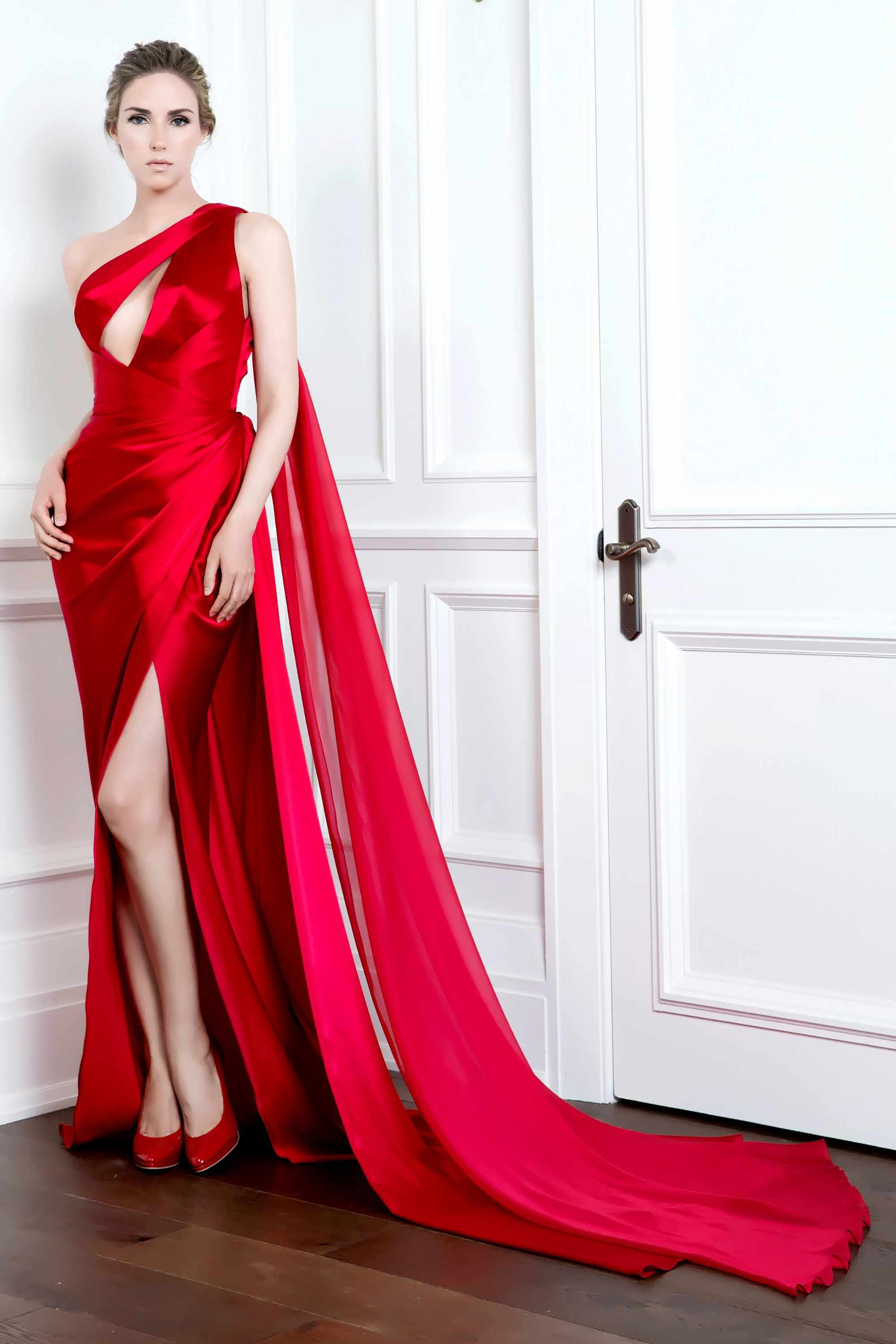 ONE SHOULDER DRAPED GOWN WITH THIGH SLIT, RED