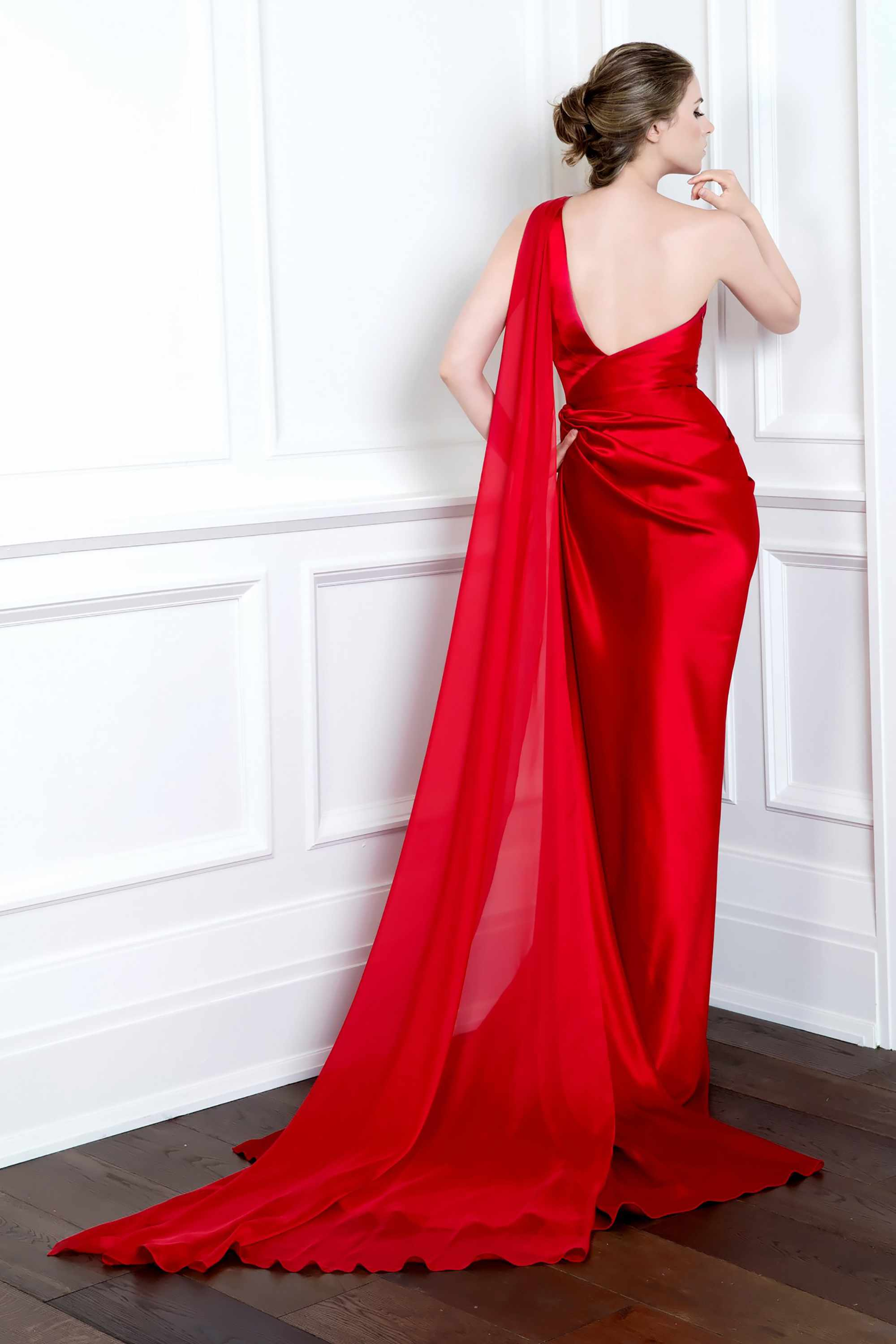 One Shoulder Draped Gown With Thigh Slit Red Kelly Ng