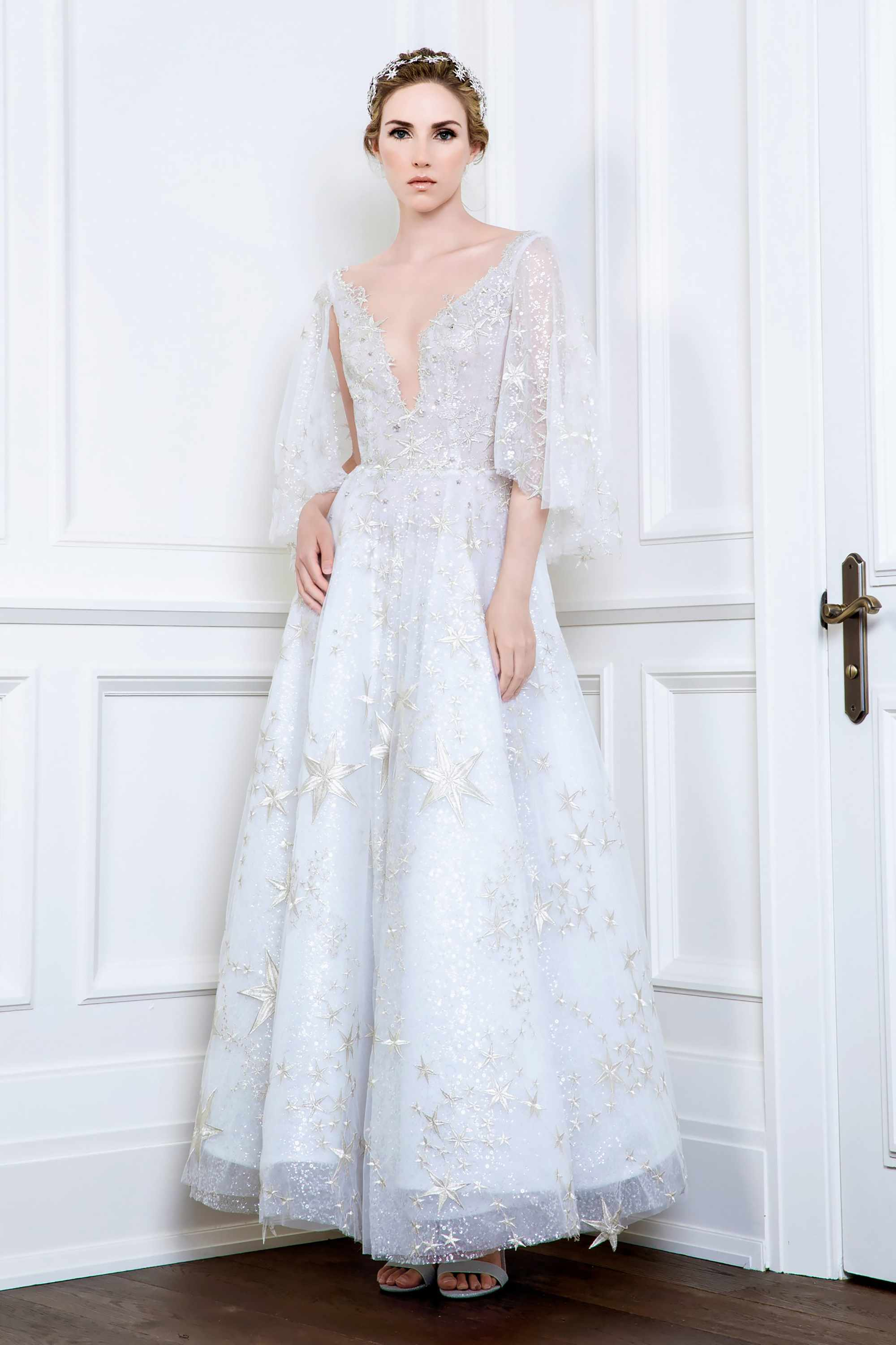 STAR EMBROIDERED TULLE GOWN, WHITE/CHAMPAGNE SILVER