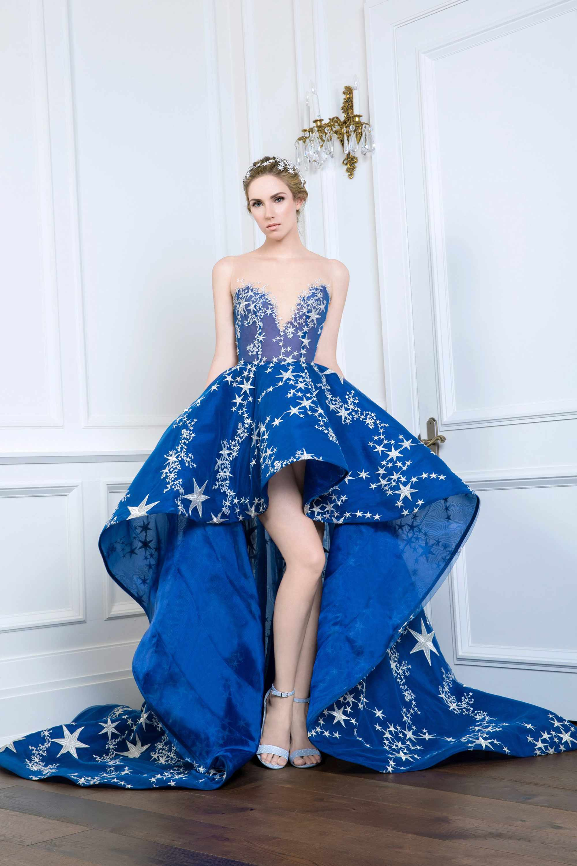 STAR EMBROIDERED V NECK GOWN, VIVID BLUE