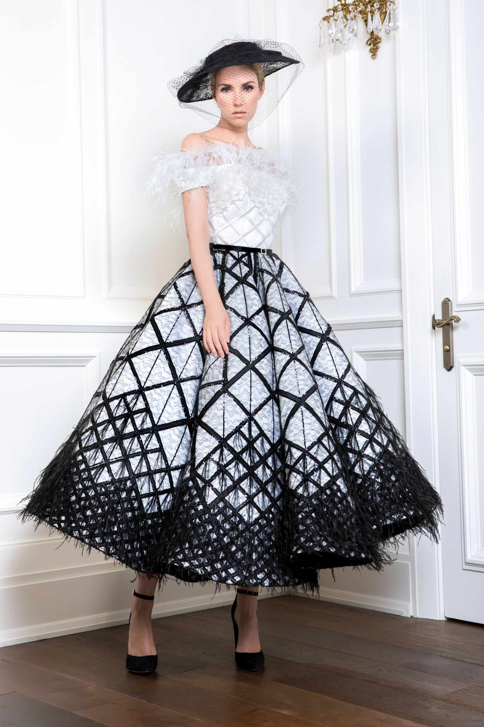 OFF-THE-SHOULDER FEATHER BALL GOWN, WHITE/BLACK