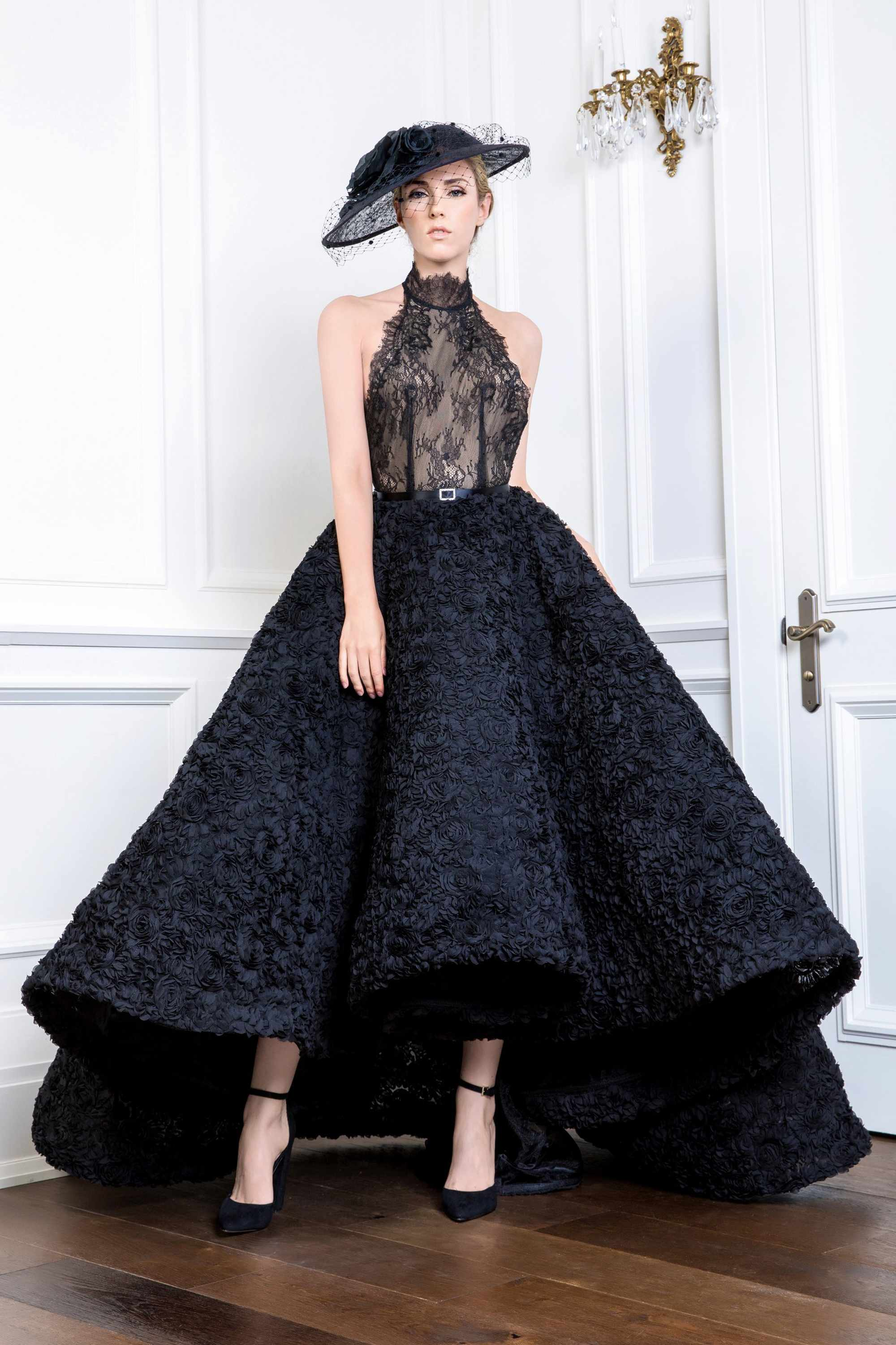RUFFLE BALL GOWN WITH LACE HALTER NECK TOP, BLACK