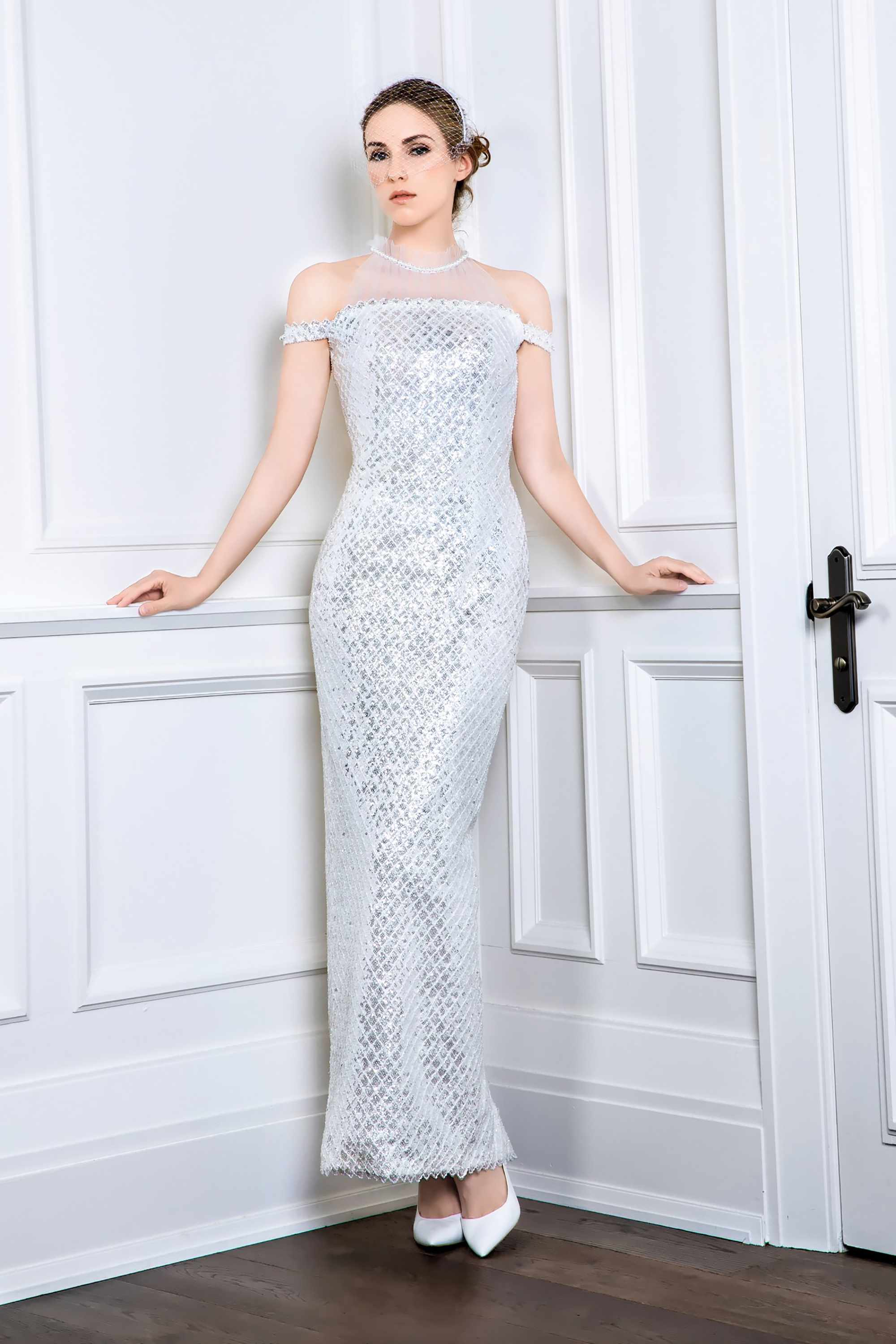 HALTER NECK OFF-THE-SHOULDER GOWN WITH REMOVABLE CAPE AND TULLE, SILVER/WHITE