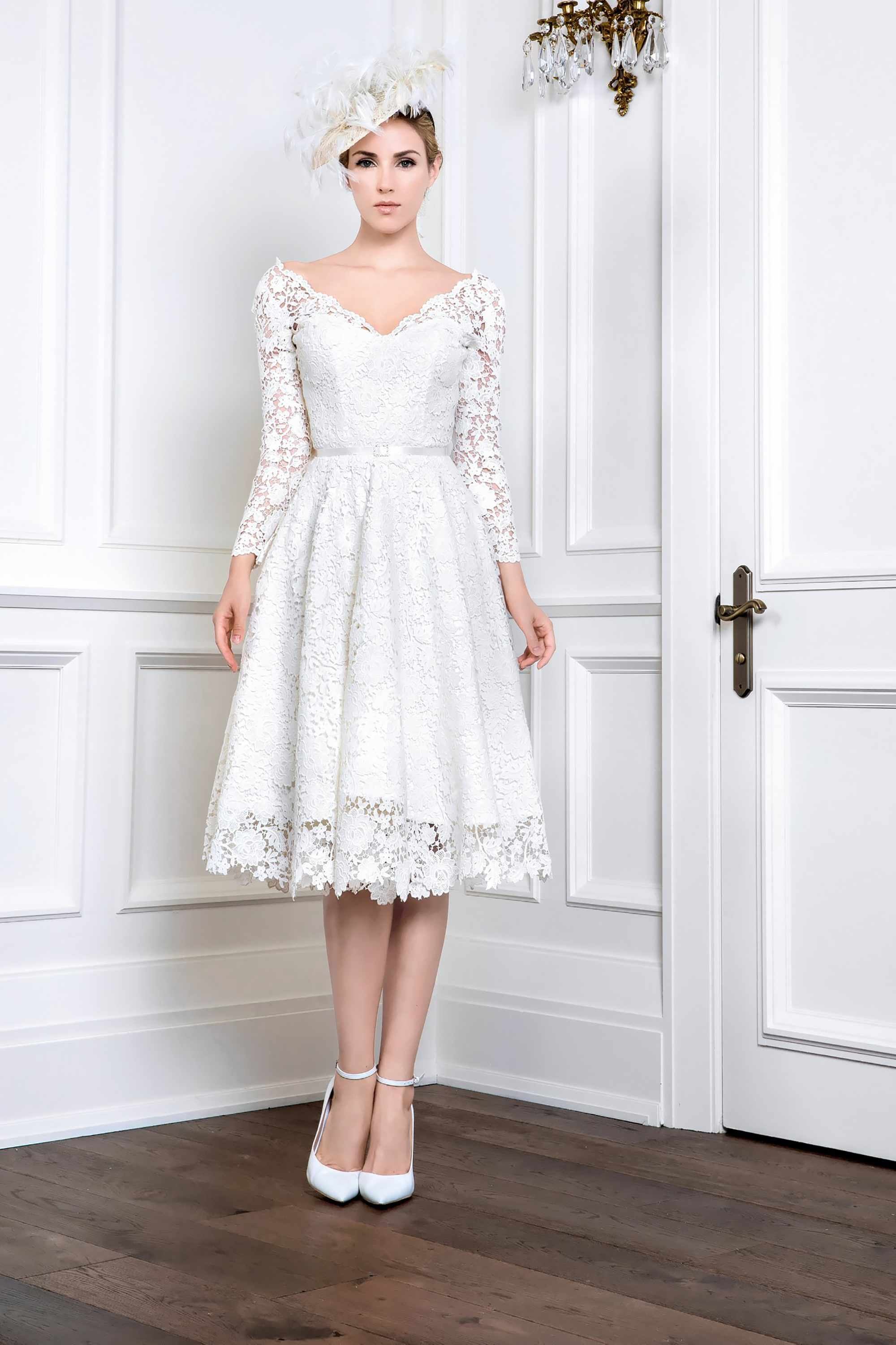 FRENCH GUIPURE LACE FLARE DRESS, WHITE