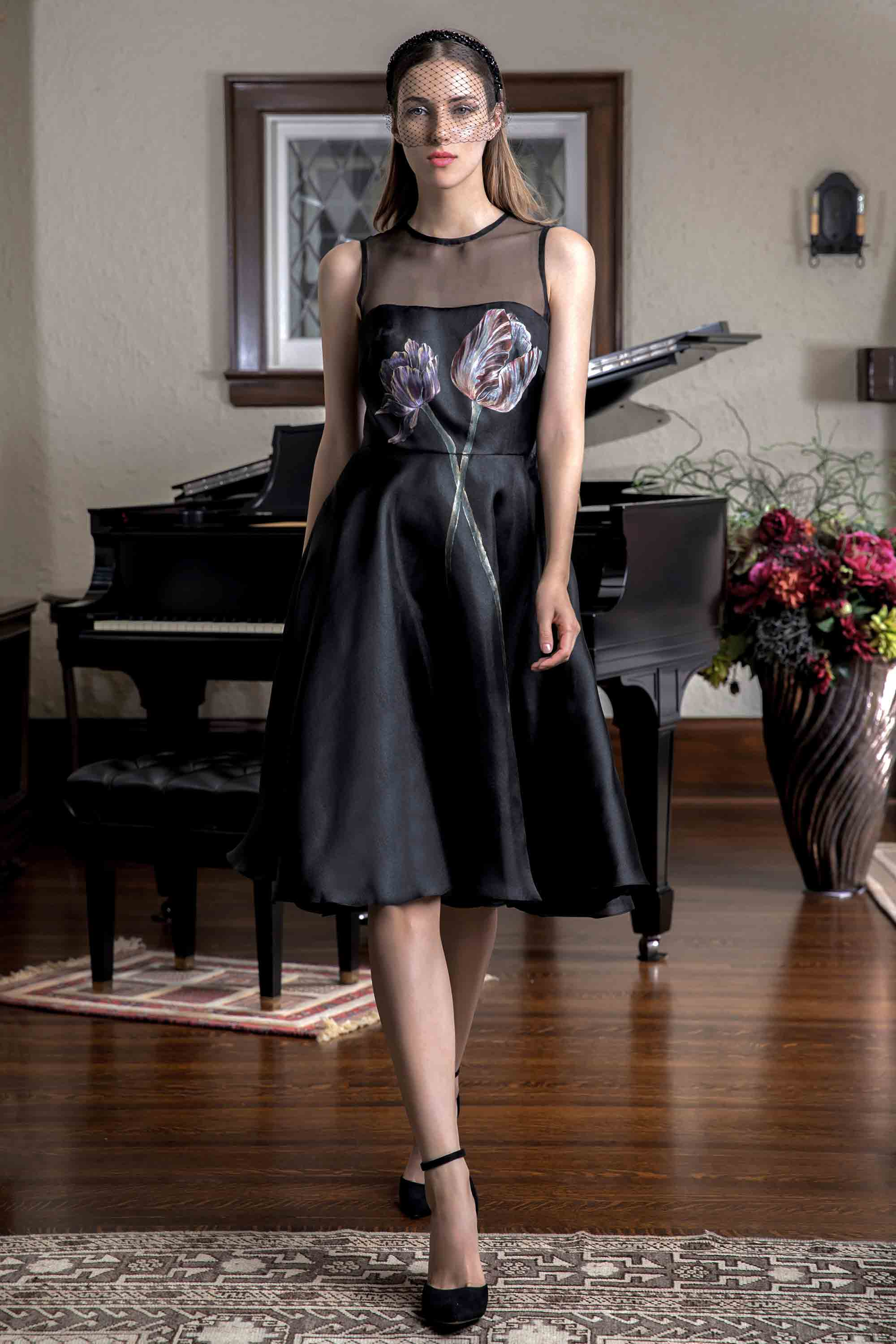 FLORAL HAND PAINTED DRESS, BLACK