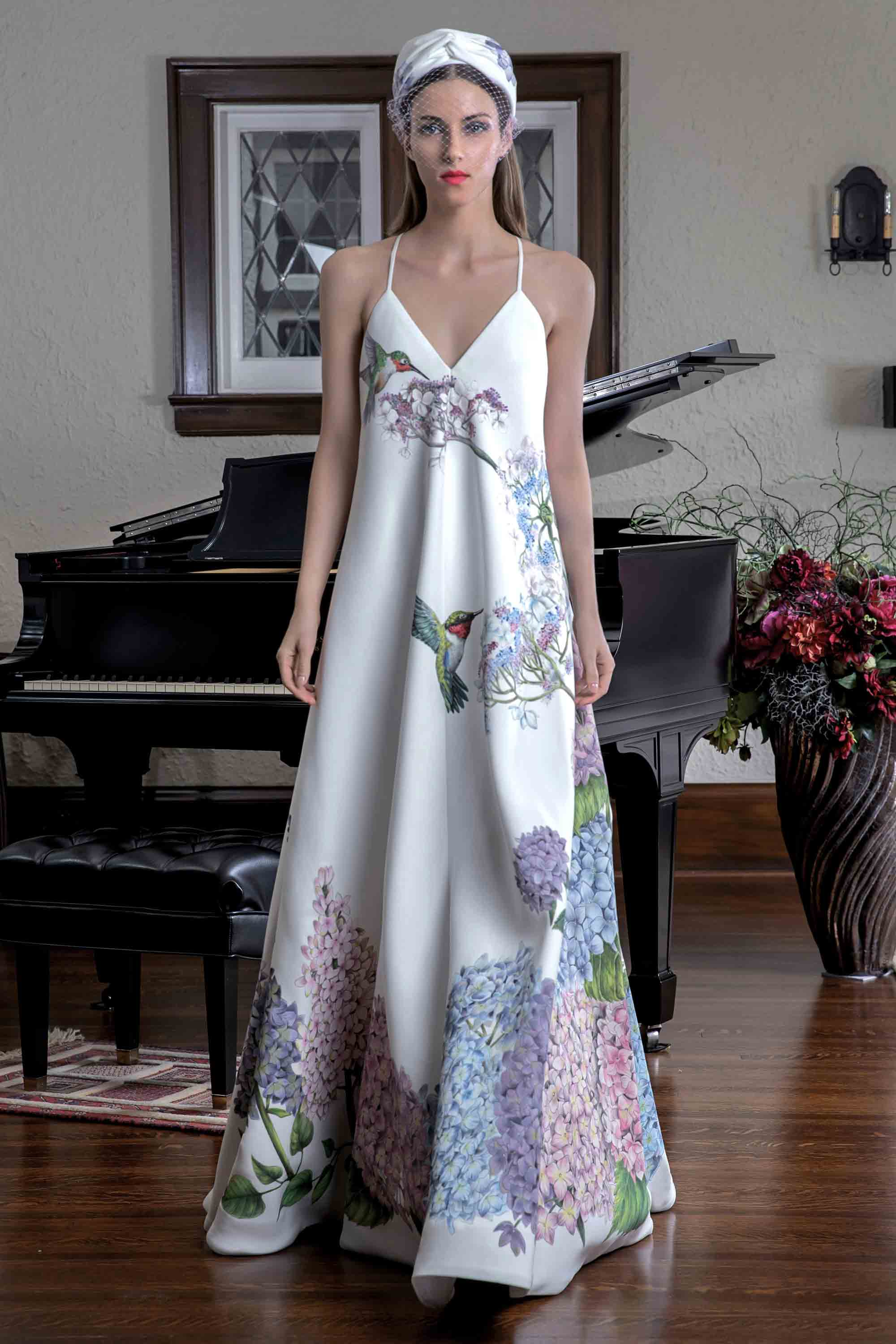 BLOOMING GARDEN HAND PAINTED GOWN, WHITE/MULTICOLOR