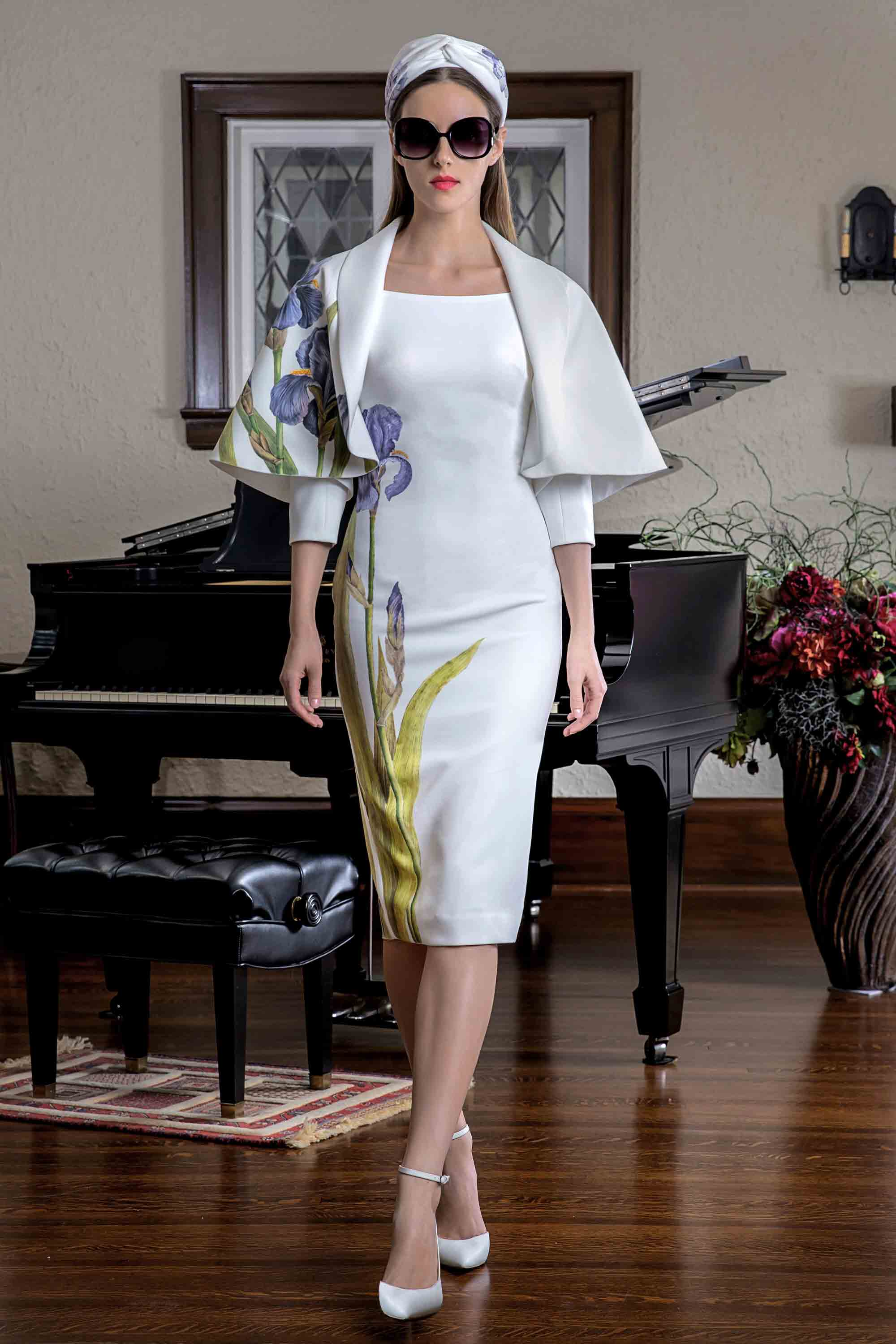 IRIS HAND PAINTED PENCIL DRESS WITH CAPE, WHITE/ MULTICOLOR