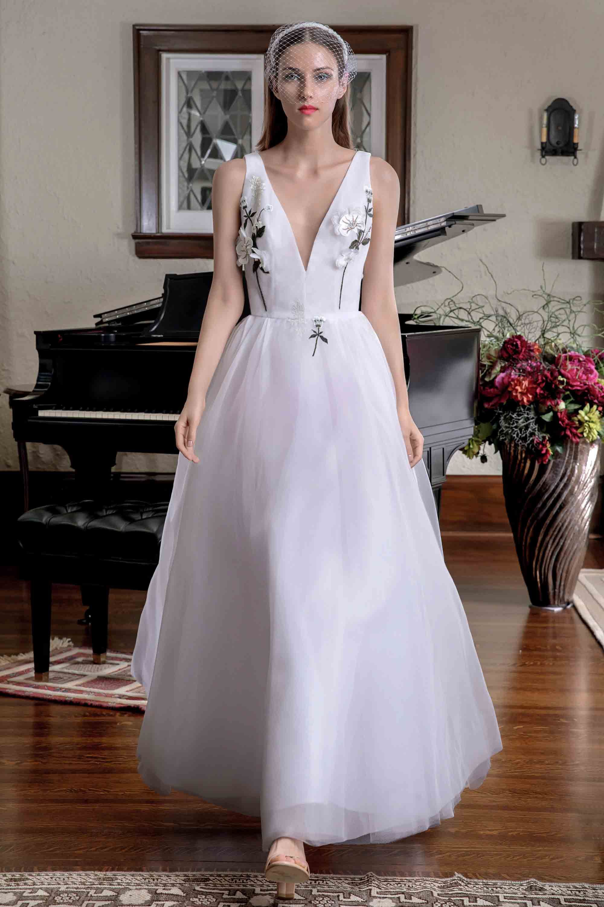 FLORAL EMBROIDERED SILK ORGANZA GOWN, WHITE/ MULTICOLOR