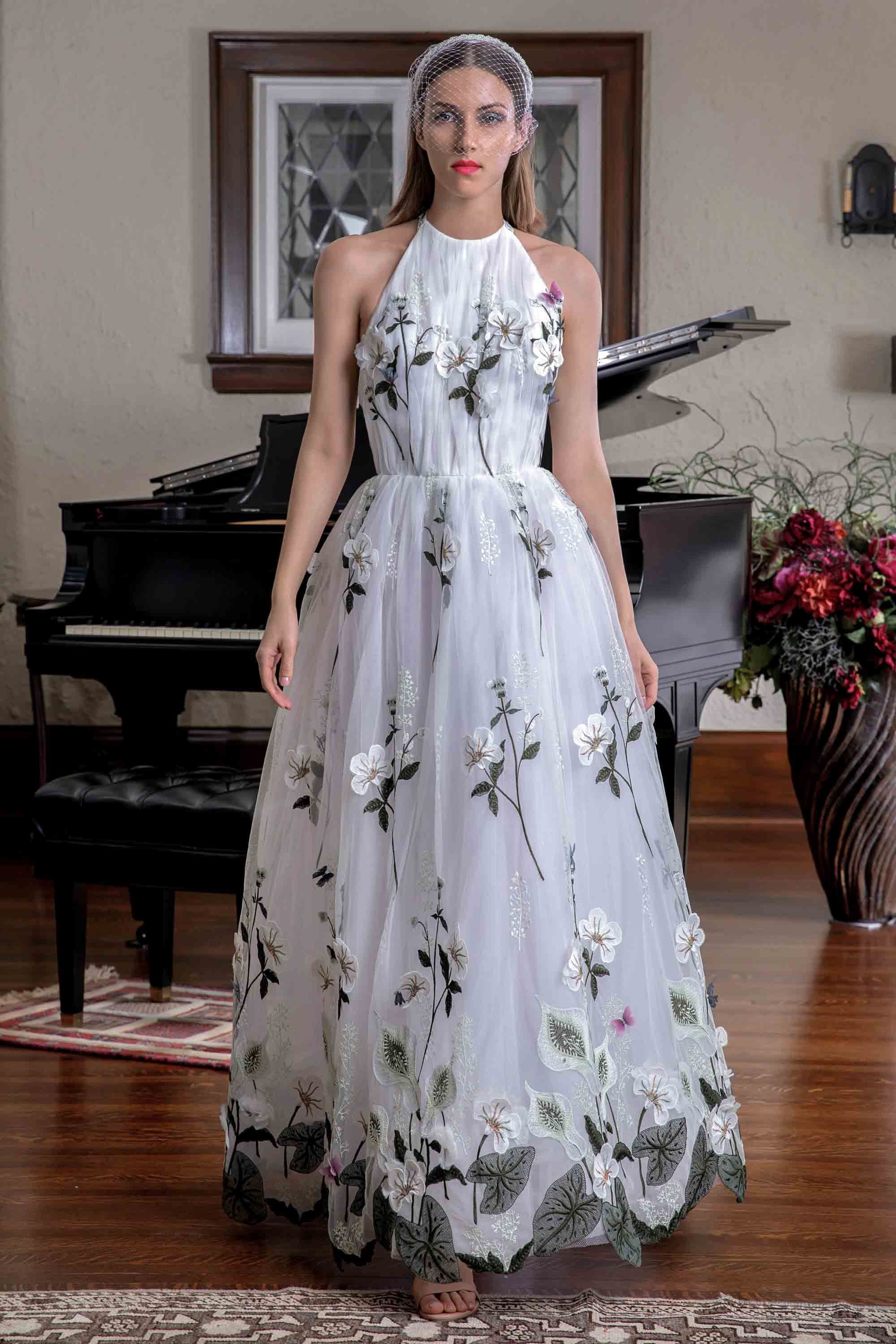 FLORAL EMBROIDERED HALTER NECK GOWN, WHITE/MULTICOLOR