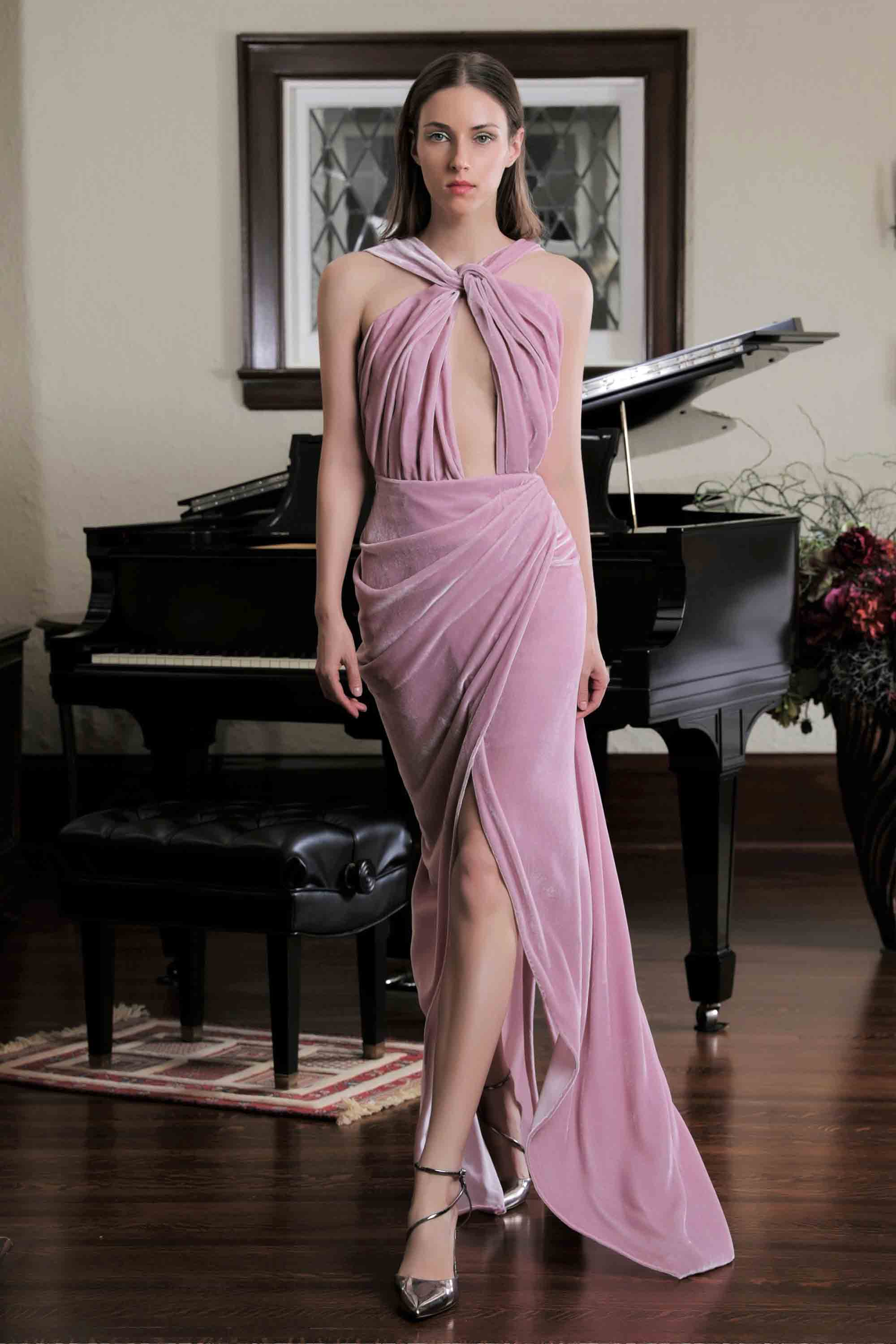 SILK VELVET DRAPED GOWN, ROSE PINK