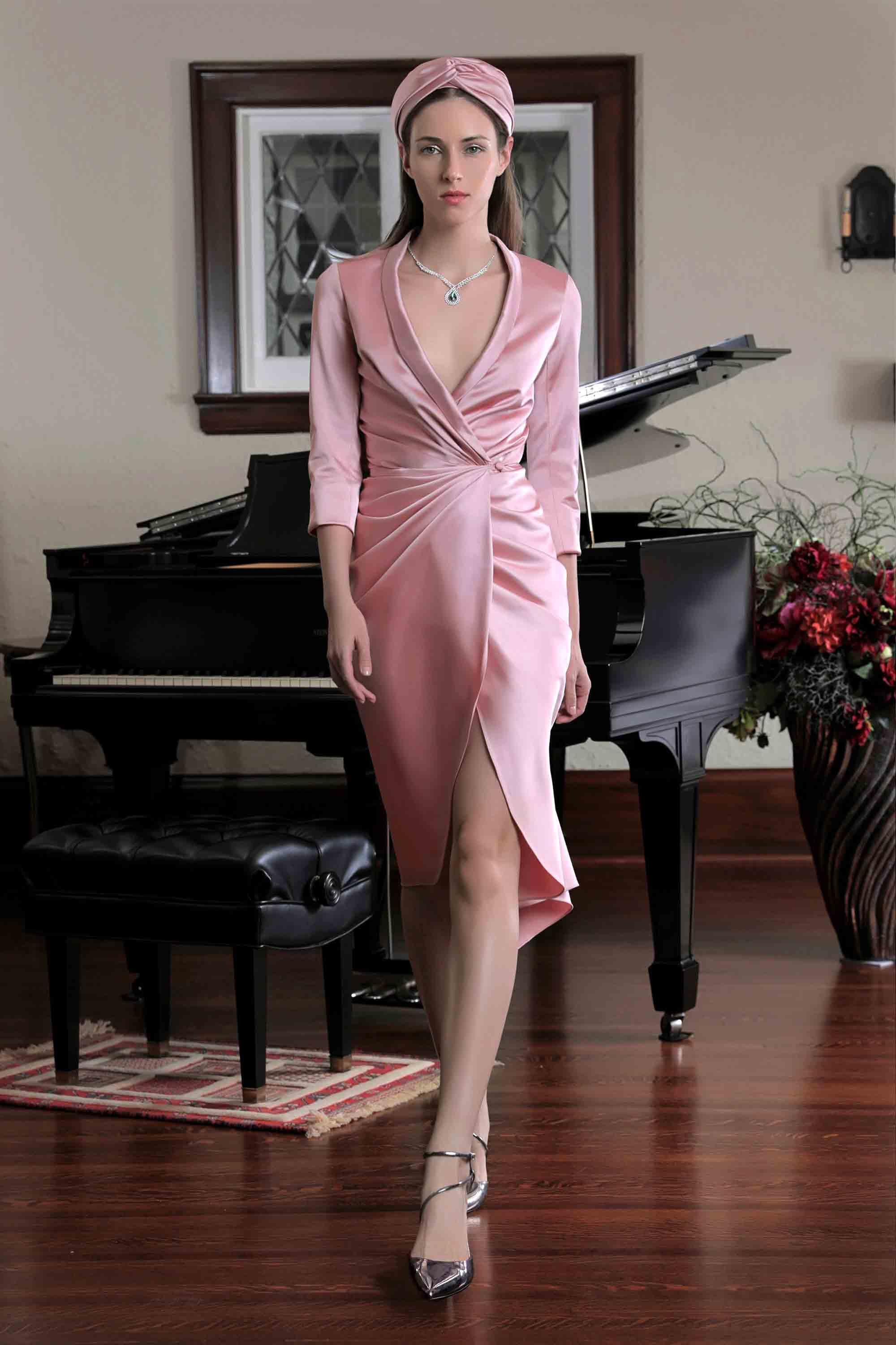 DUCHESS SATIN DRAPED ROBE DRESS, CARNATION PINK