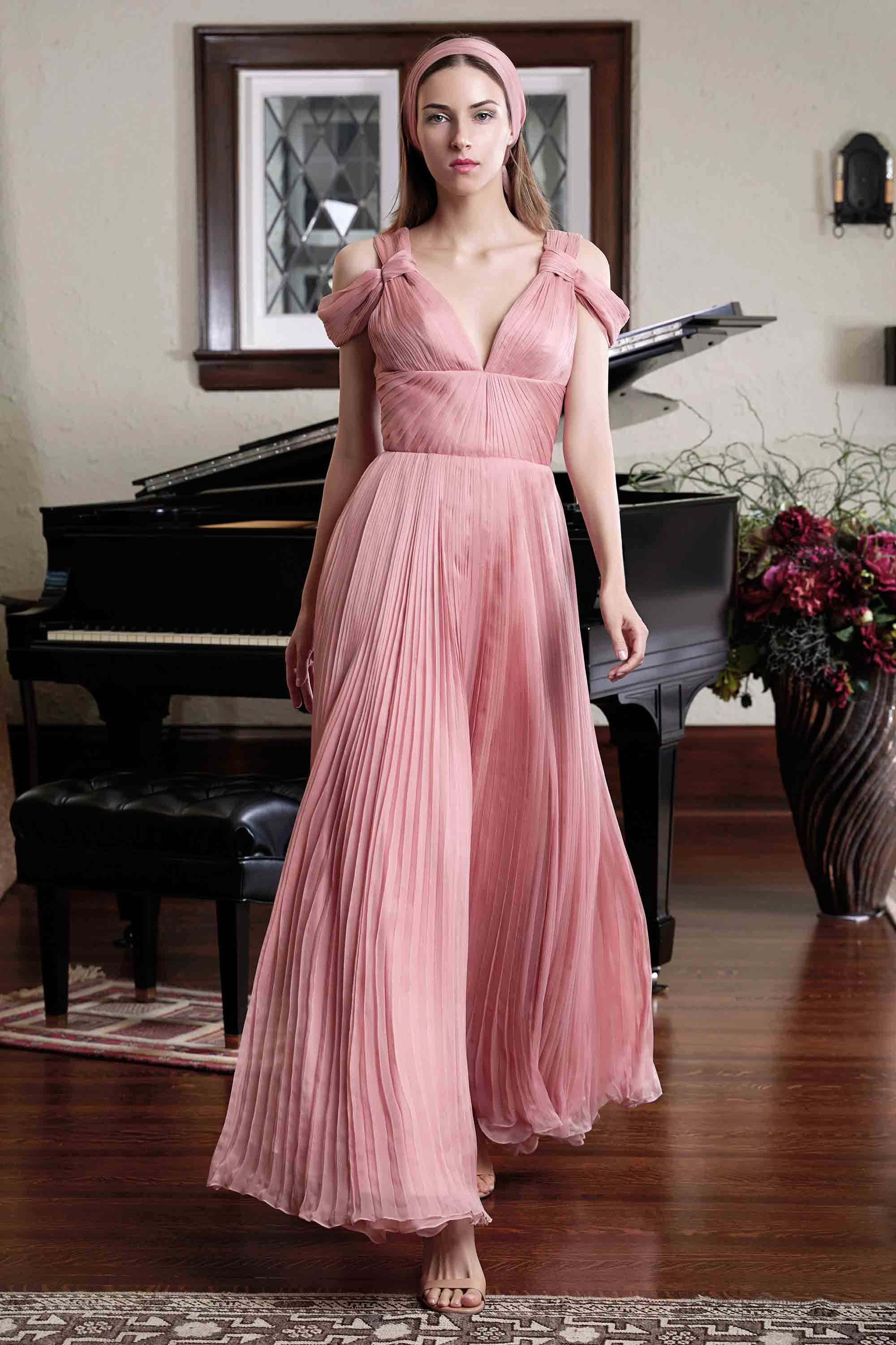 HAND PLEATED SILK CHIFFON GOWN, ROSE PINK