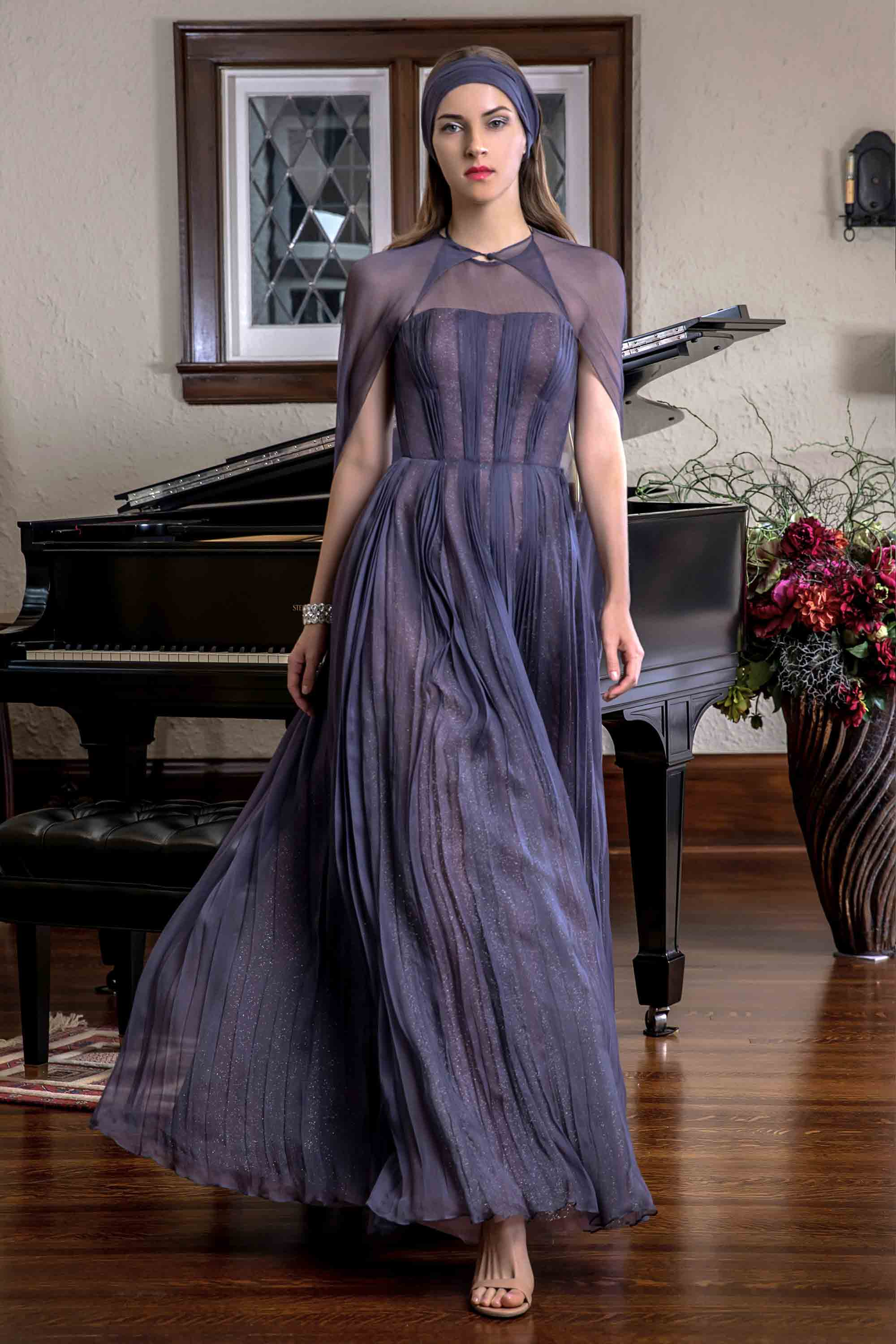 HALTER NECK HAND PLEATED SILK CHIFFON GOWN WITH CAPE, DARK PERIWINKLE BLUE
