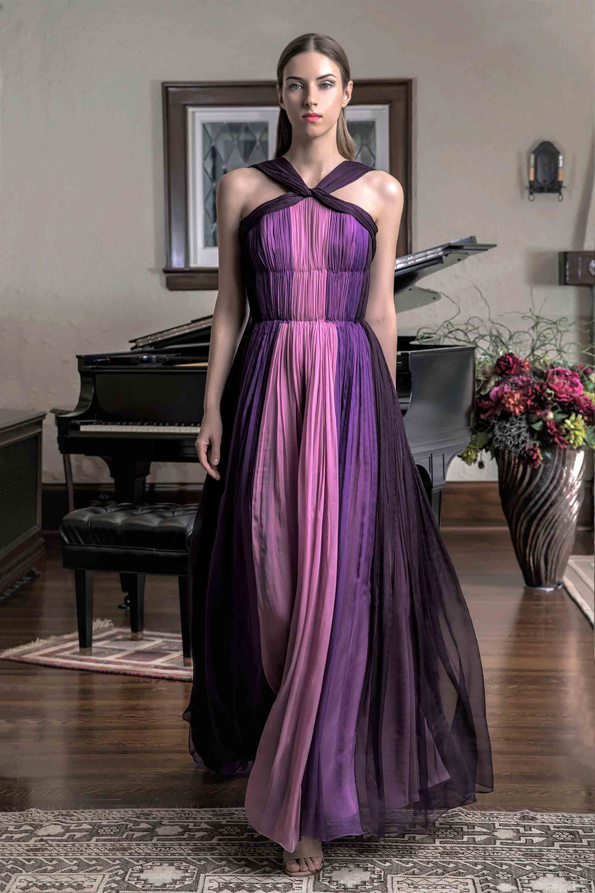 HAND PLEATED CHIFFON GOWN WITH CAPE, MULTICOLOR