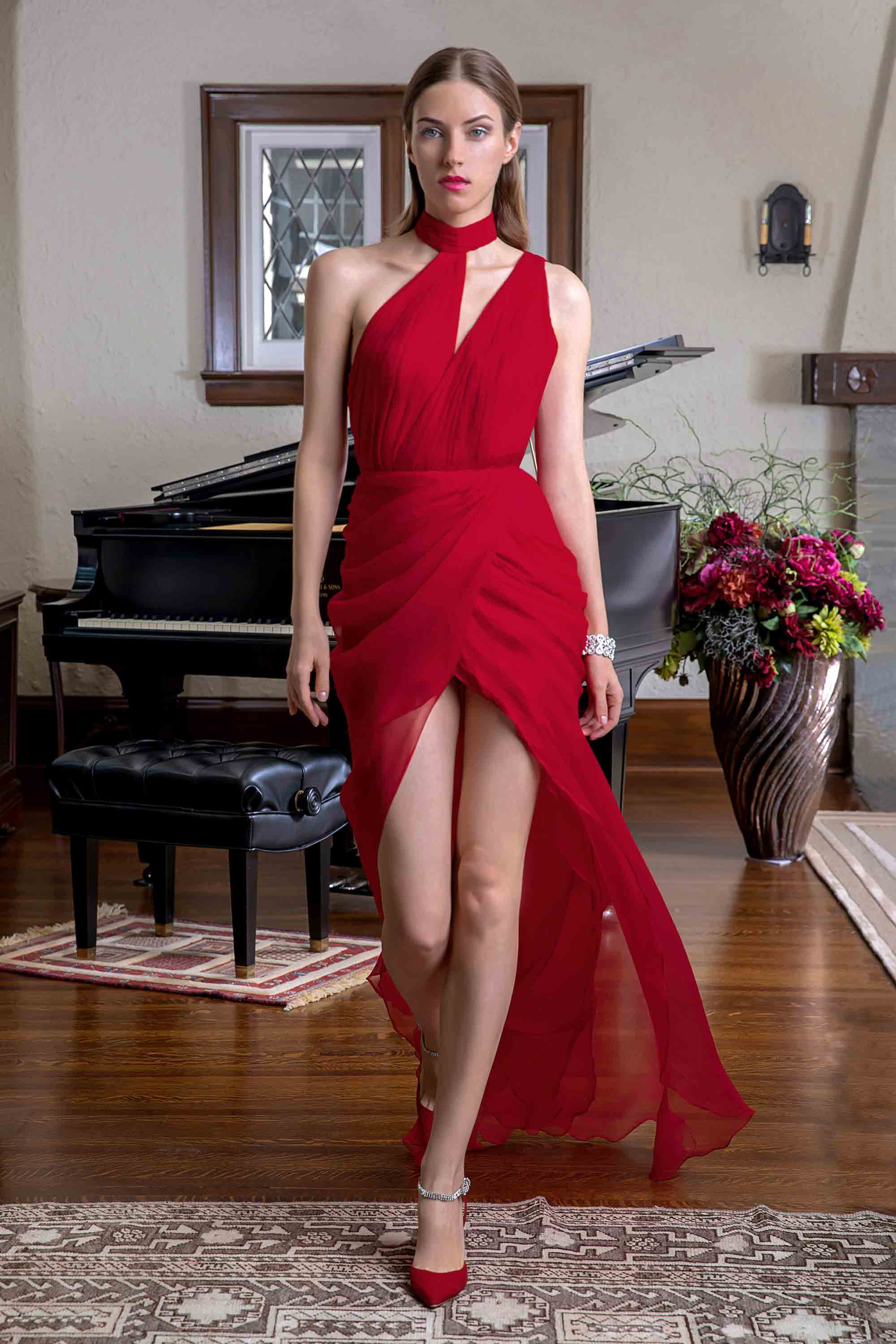 HAND PLEATED CHIFFON GOWN, RED