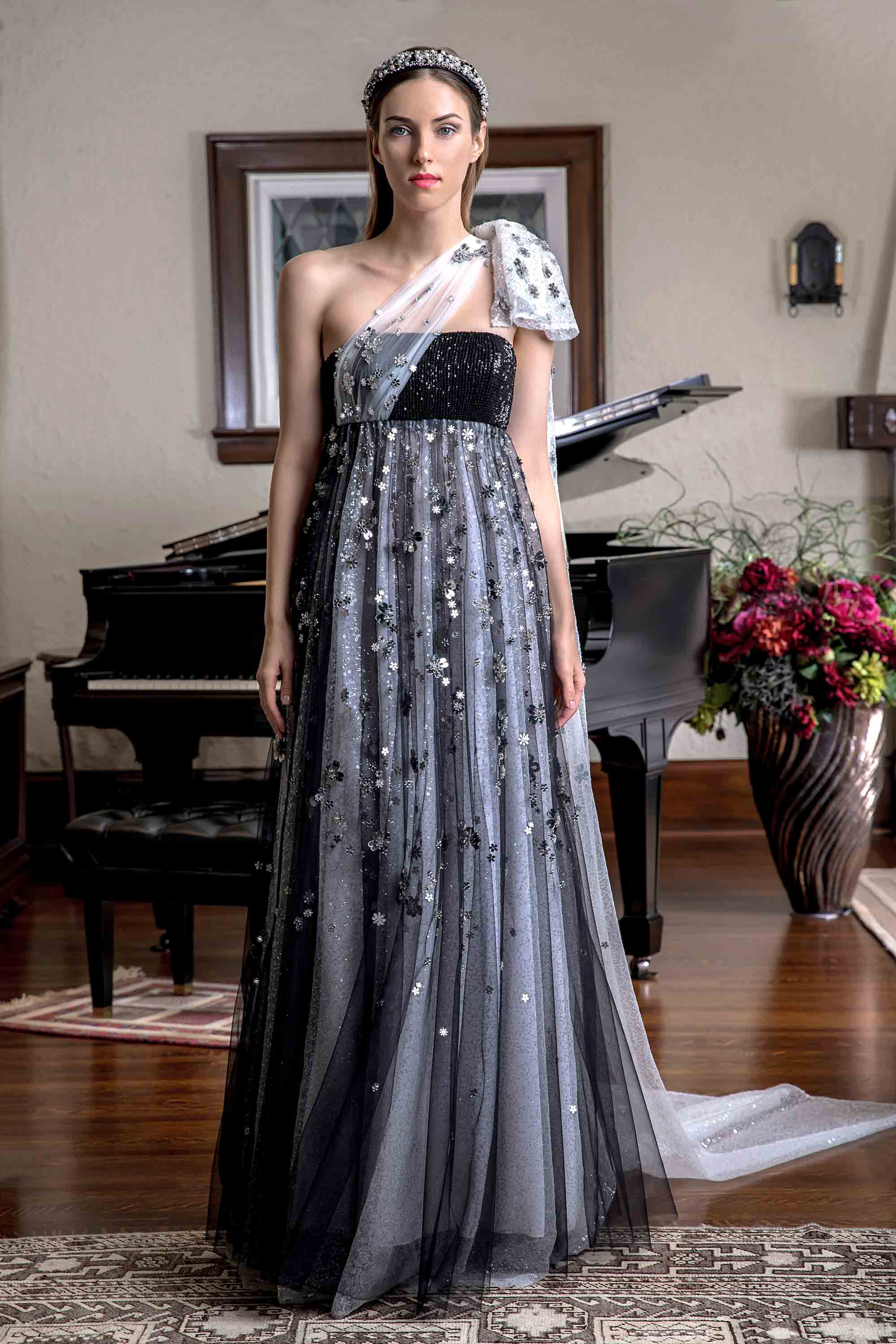 MIRROR EMBELLISHED SEQUIN GOWN, BLACK/SILVER